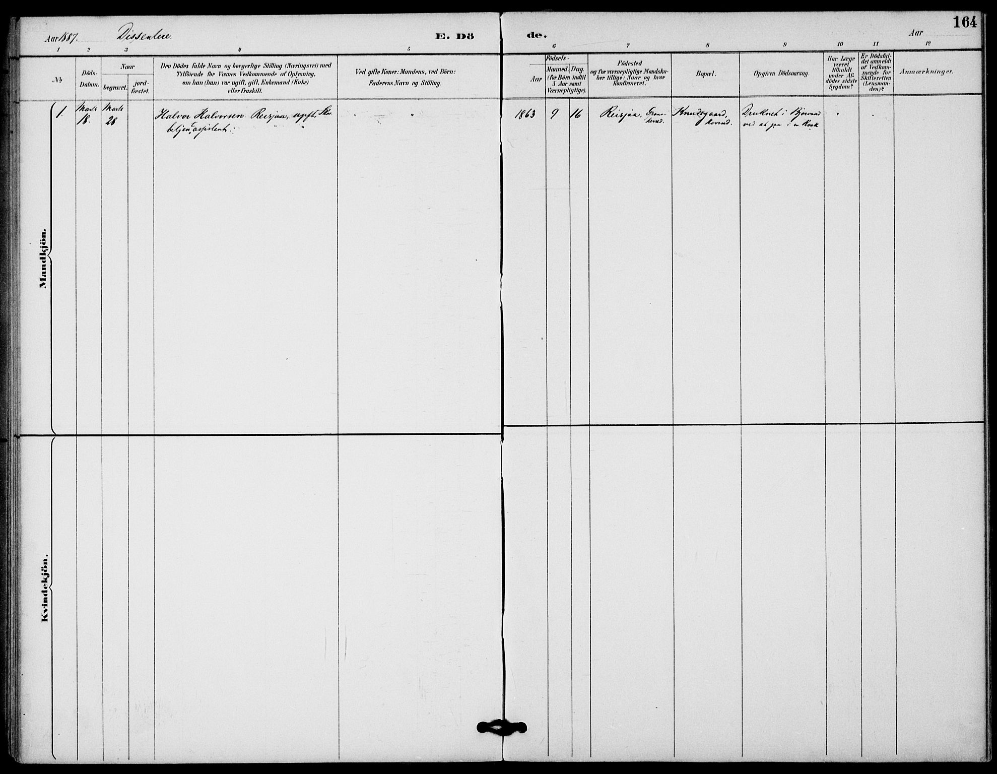 SAKO, Gransherad kirkebøker, F/Fb/L0005: Ministerialbok nr. II 5, 1887-1916, s. 164