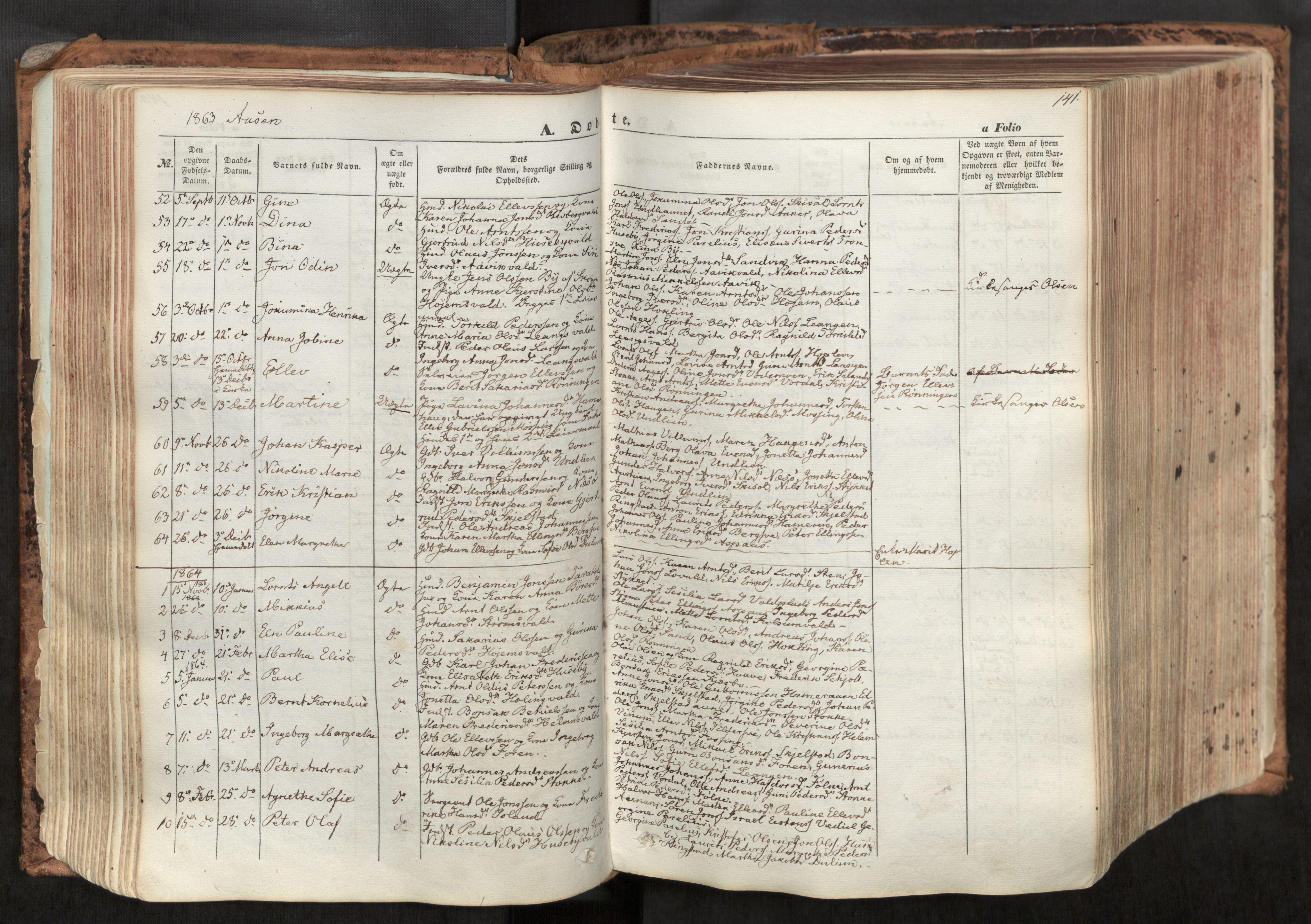 SAT, Ministerialprotokoller, klokkerbøker og fødselsregistre - Nord-Trøndelag, 713/L0116: Ministerialbok nr. 713A07, 1850-1877, s. 141