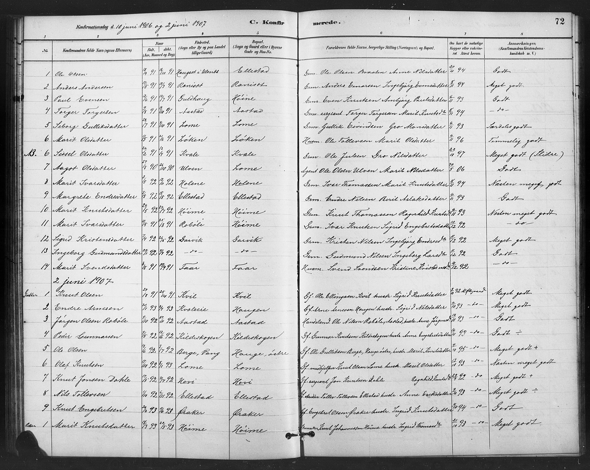 SAH, Vestre Slidre prestekontor, Klokkerbok nr. 6, 1881-1915, s. 72