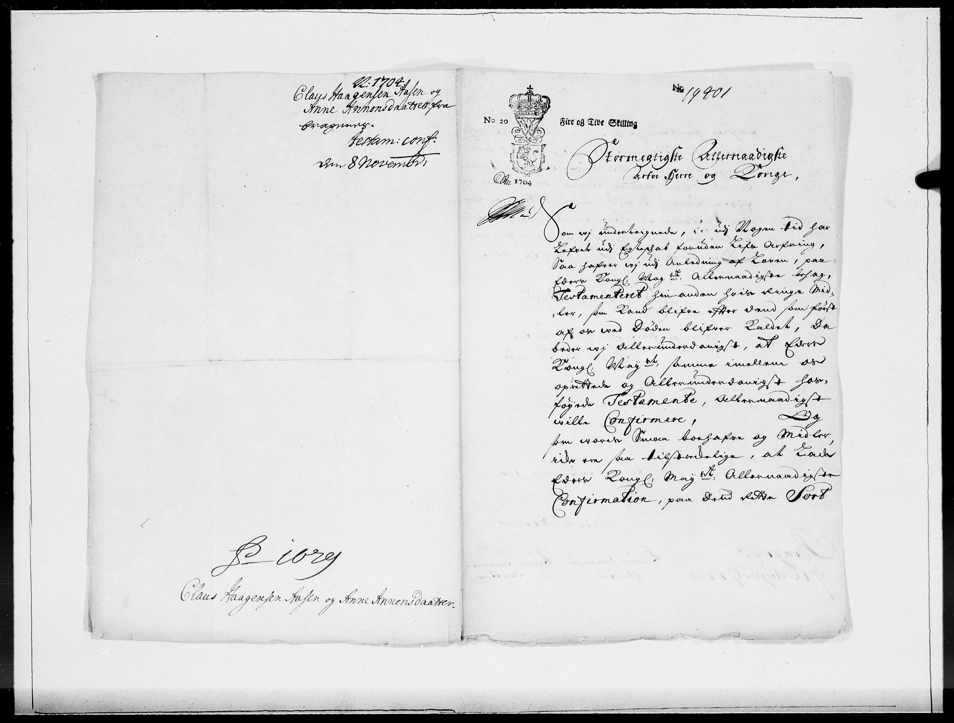 RA, Danske Kanselli 1572-1799, F/Fc/Fcc/Fcca/L0057: Norske innlegg 1572-1799, 1704, s. 352