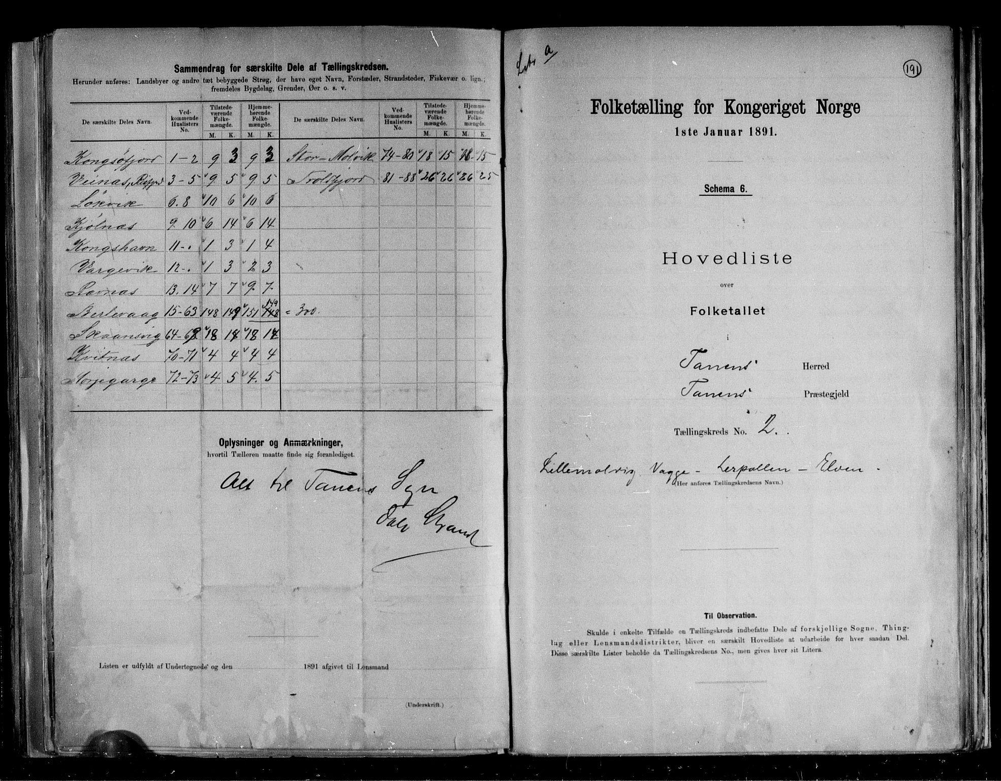 RA, Folketelling 1891 for 2025 Tana herred, 1891, s. 7