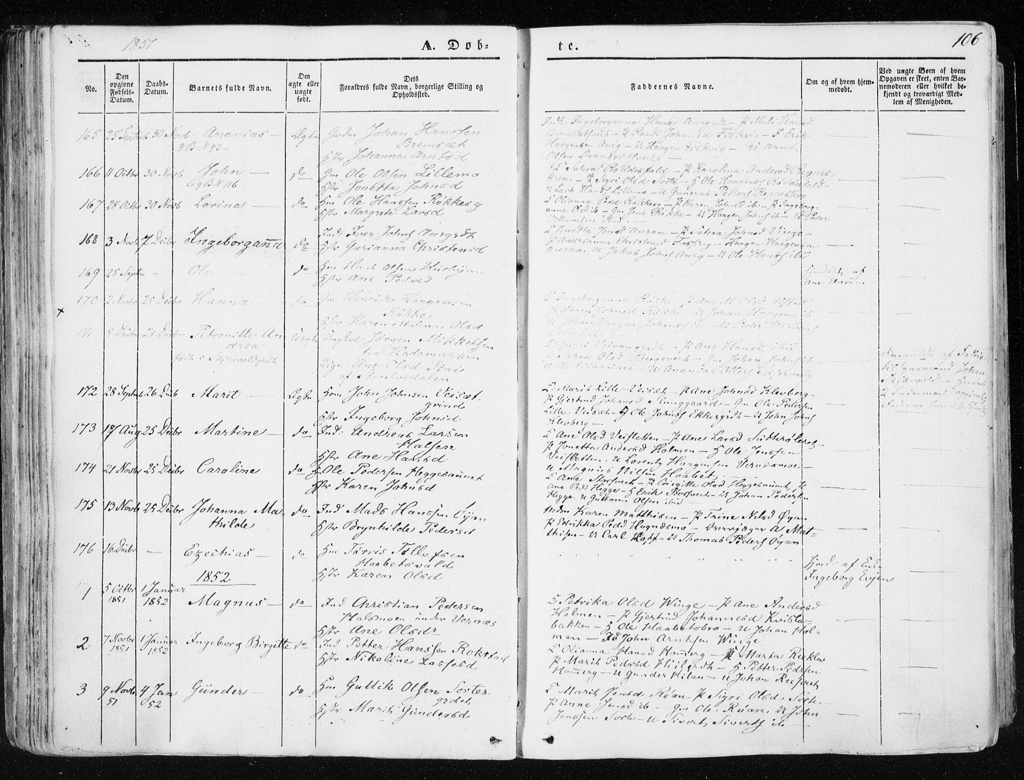 SAT, Ministerialprotokoller, klokkerbøker og fødselsregistre - Nord-Trøndelag, 709/L0074: Ministerialbok nr. 709A14, 1845-1858, s. 106