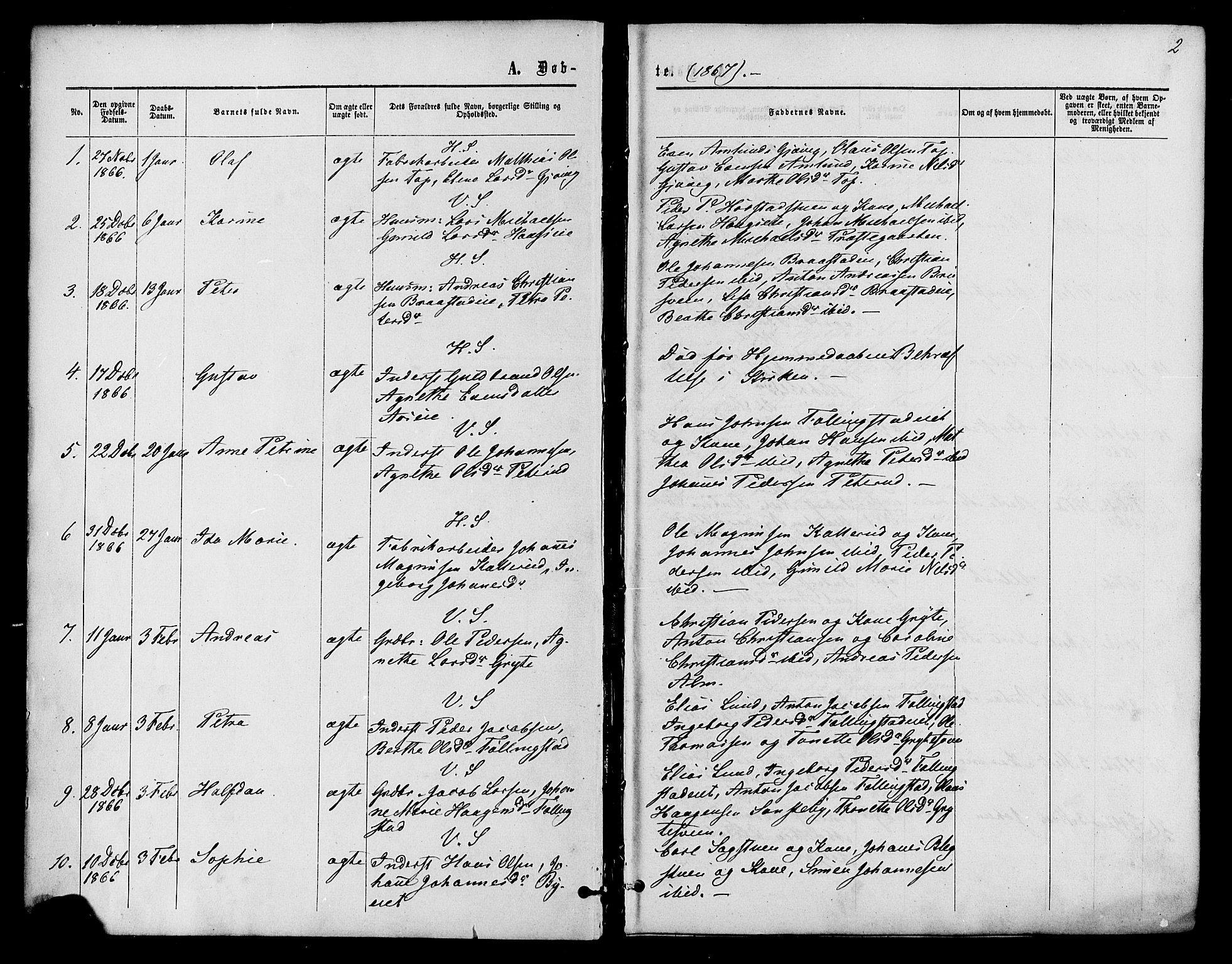SAH, Vardal prestekontor, H/Ha/Haa/L0007: Ministerialbok nr. 7, 1867-1878, s. 2