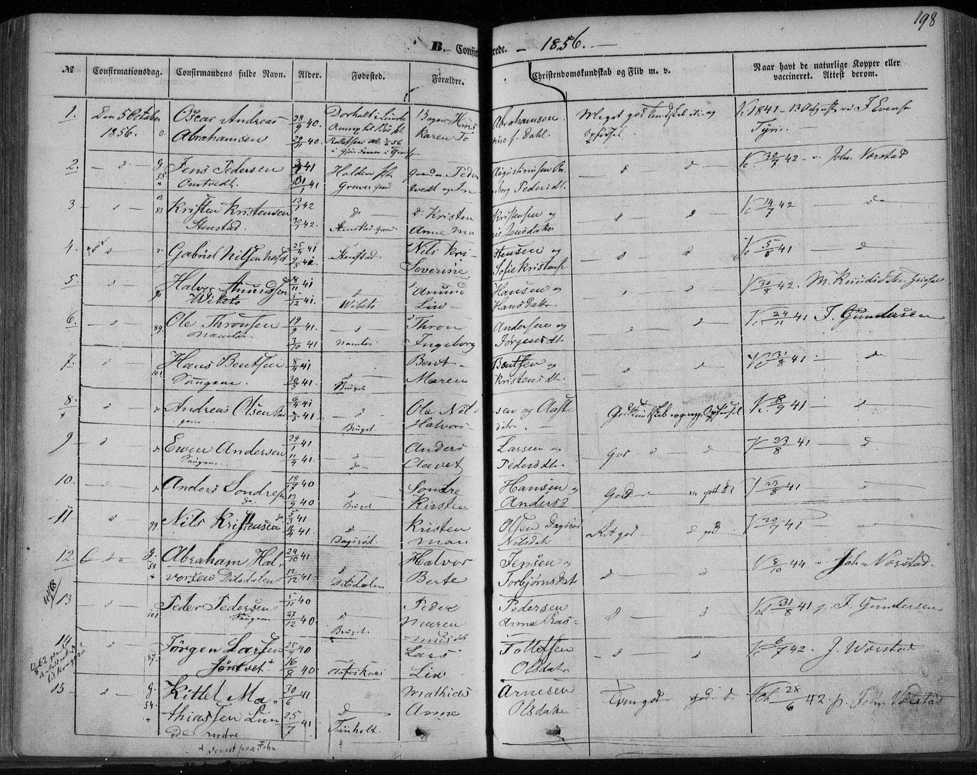 SAKO, Holla kirkebøker, F/Fa/L0005: Ministerialbok nr. 5, 1849-1860, s. 198