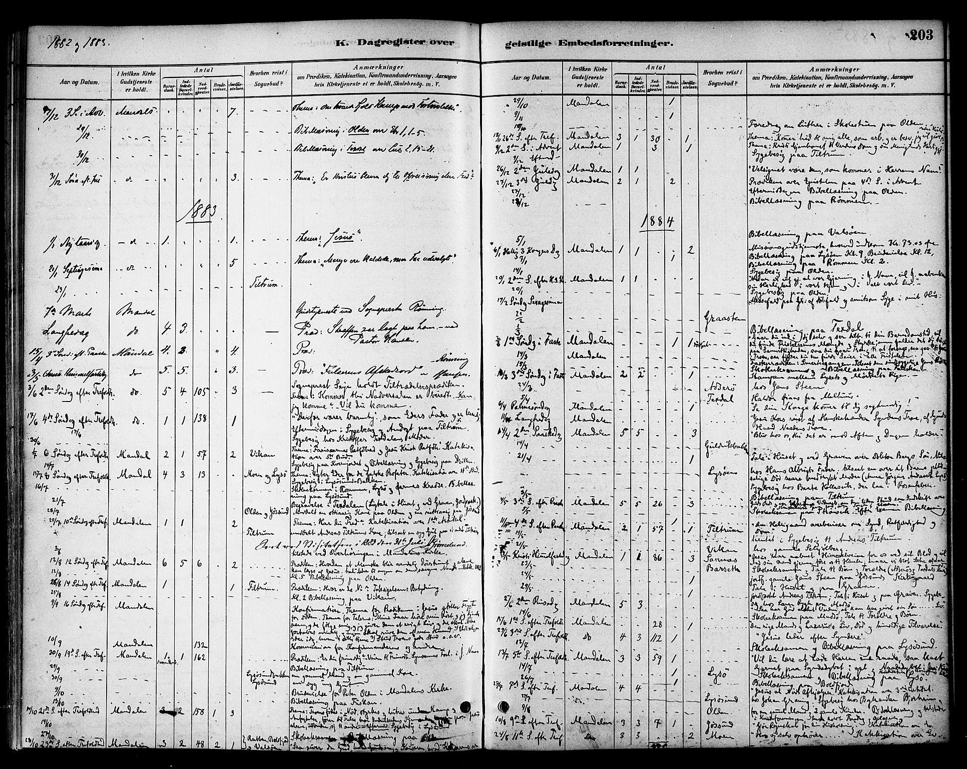 SAT, Ministerialprotokoller, klokkerbøker og fødselsregistre - Sør-Trøndelag, 654/L0663: Ministerialbok nr. 654A01, 1880-1894, s. 203