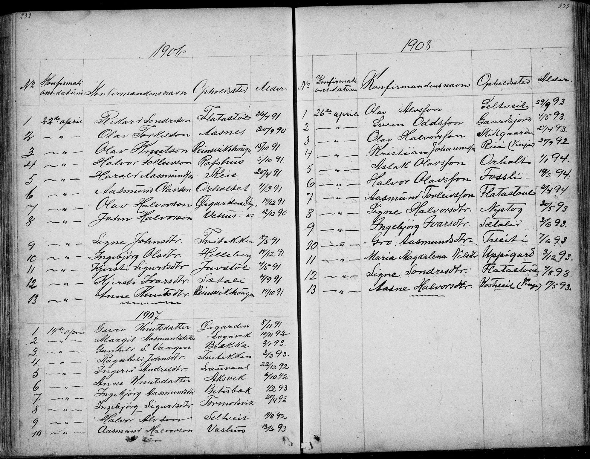 SAKO, Rauland kirkebøker, G/Ga/L0002: Klokkerbok nr. I 2, 1849-1935, s. 232-233