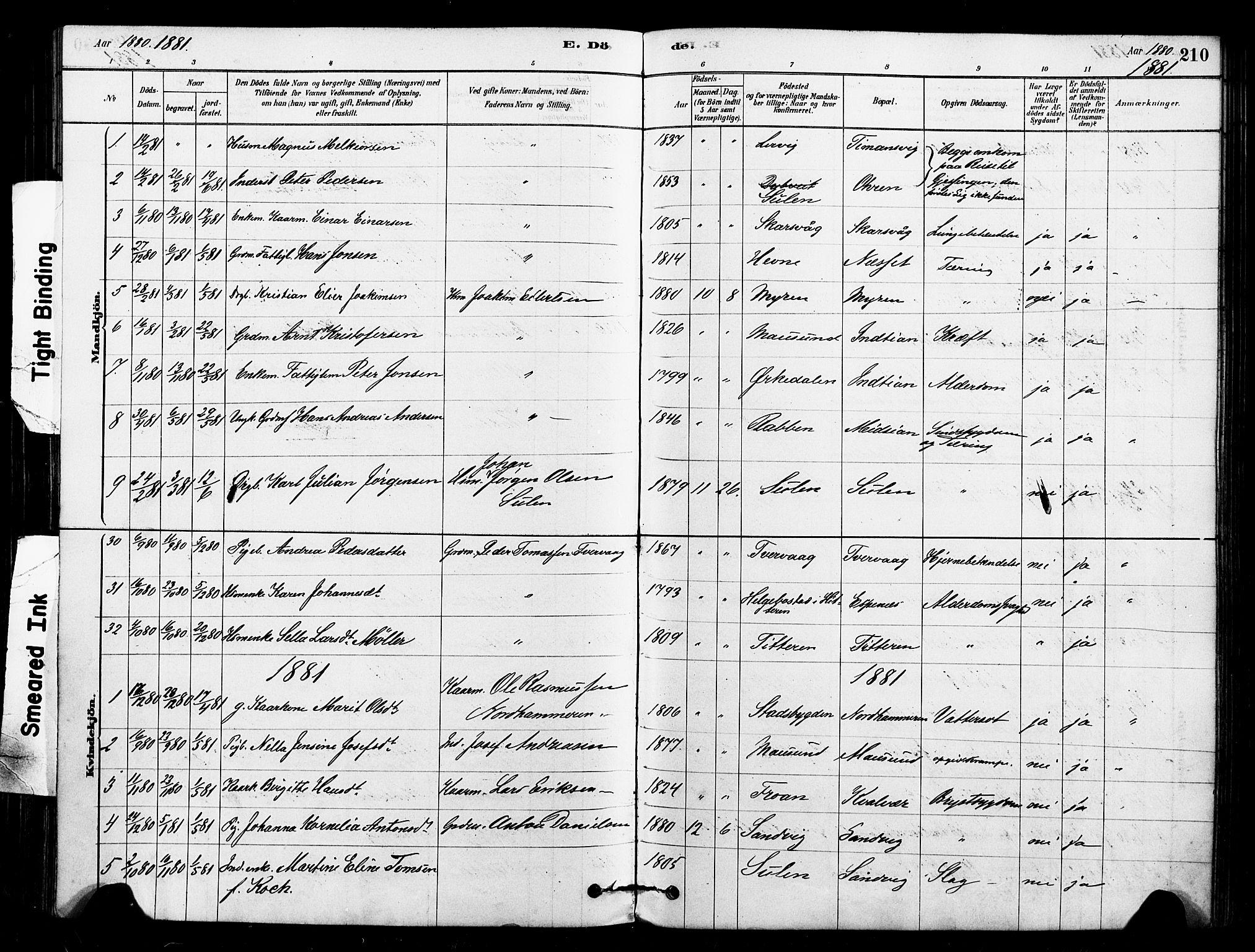 SAT, Ministerialprotokoller, klokkerbøker og fødselsregistre - Sør-Trøndelag, 640/L0578: Ministerialbok nr. 640A03, 1879-1889, s. 210