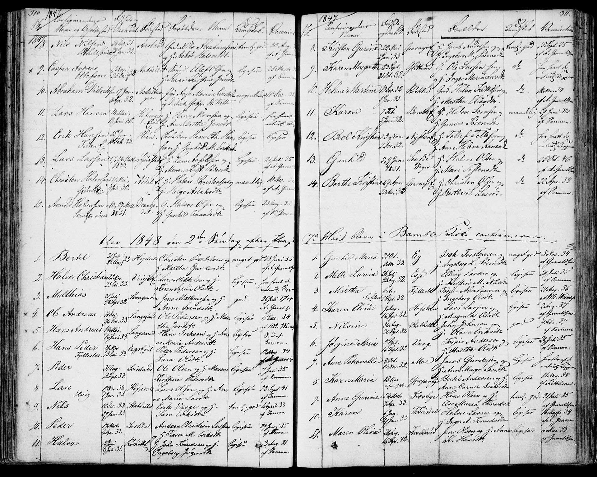SAKO, Bamble kirkebøker, F/Fa/L0004: Ministerialbok nr. I 4, 1834-1853, s. 310-311