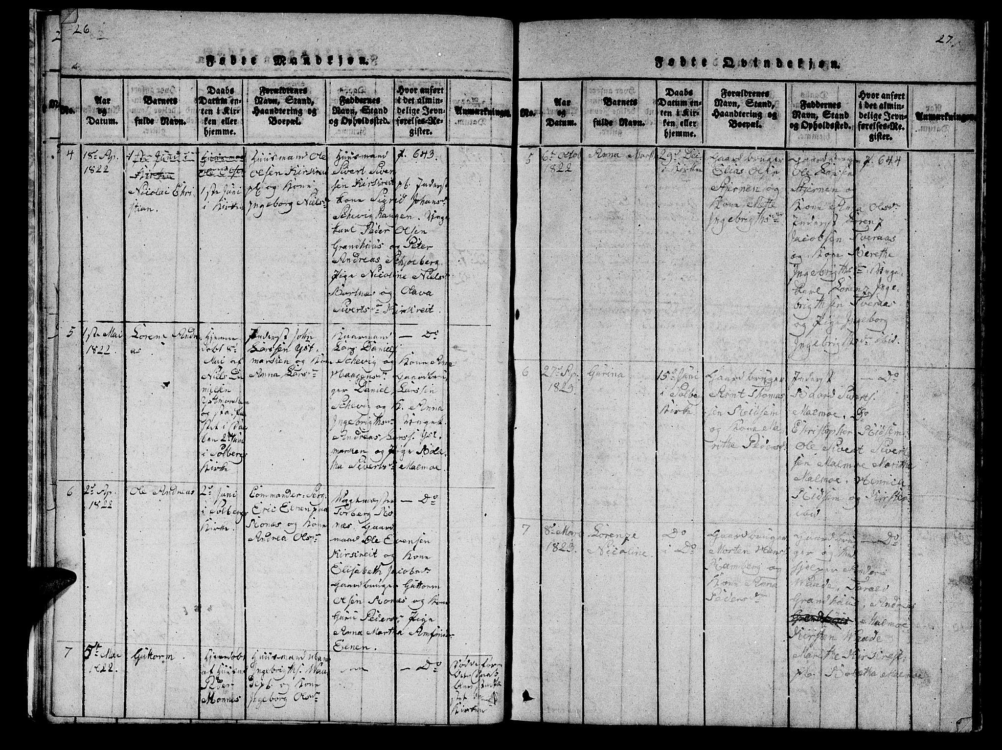 SAT, Ministerialprotokoller, klokkerbøker og fødselsregistre - Nord-Trøndelag, 745/L0433: Klokkerbok nr. 745C02, 1817-1825, s. 26-27