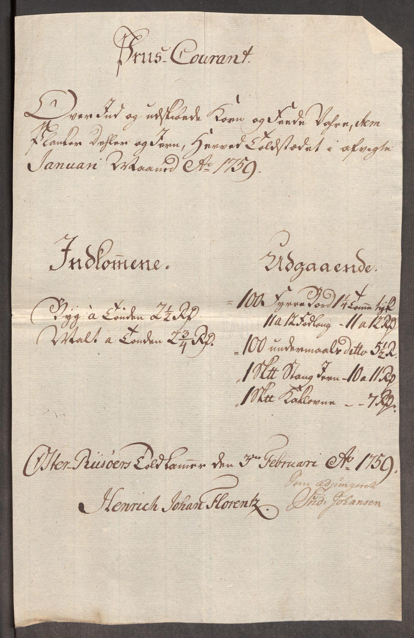 RA, Rentekammeret inntil 1814, Realistisk ordnet avdeling, Oe/L0006: [Ø1]: Priskuranter, 1758-1760, s. 573