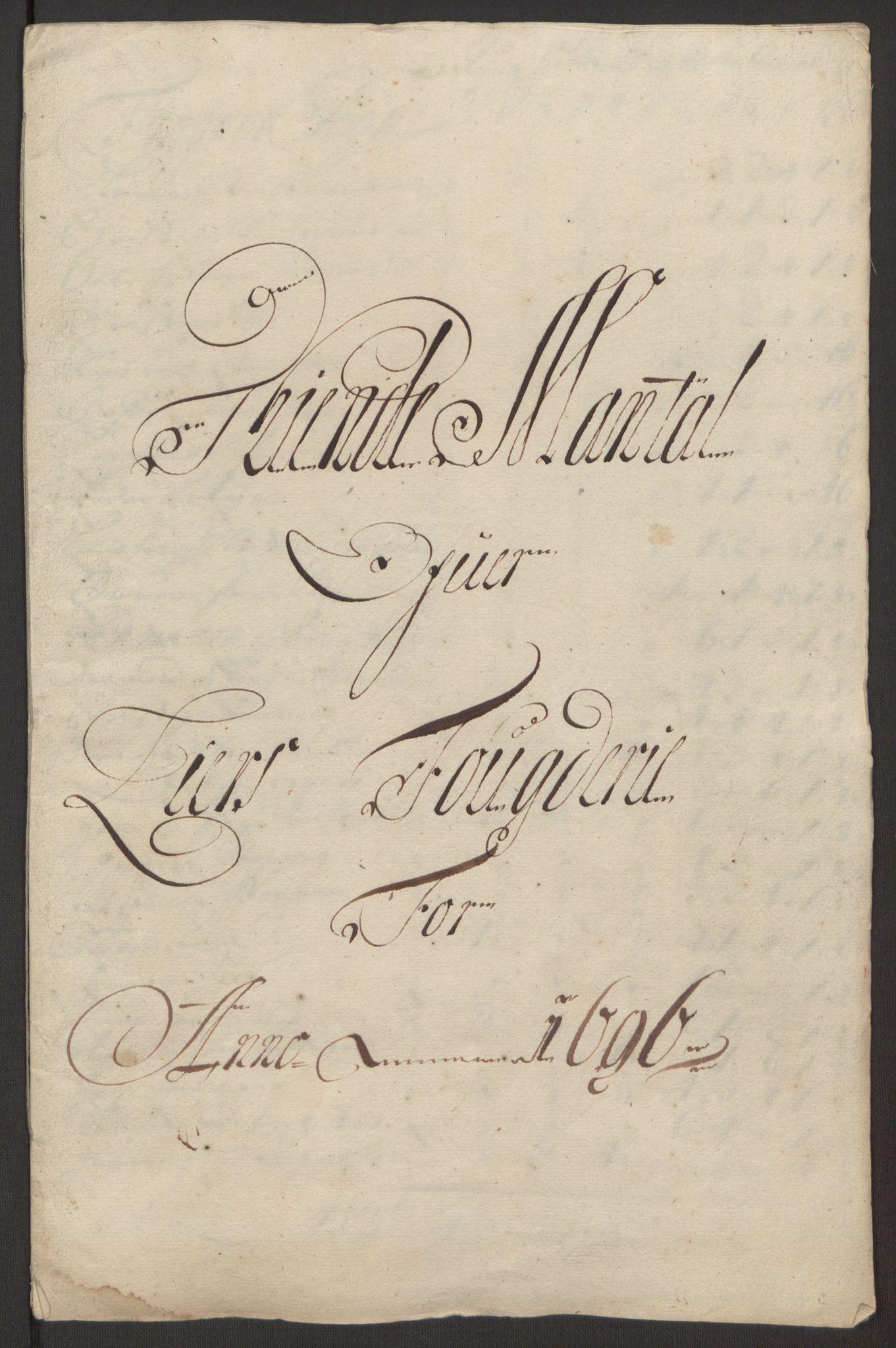 RA, Rentekammeret inntil 1814, Reviderte regnskaper, Fogderegnskap, R30/L1694: Fogderegnskap Hurum, Røyken, Eiker og Lier, 1694-1696, s. 323