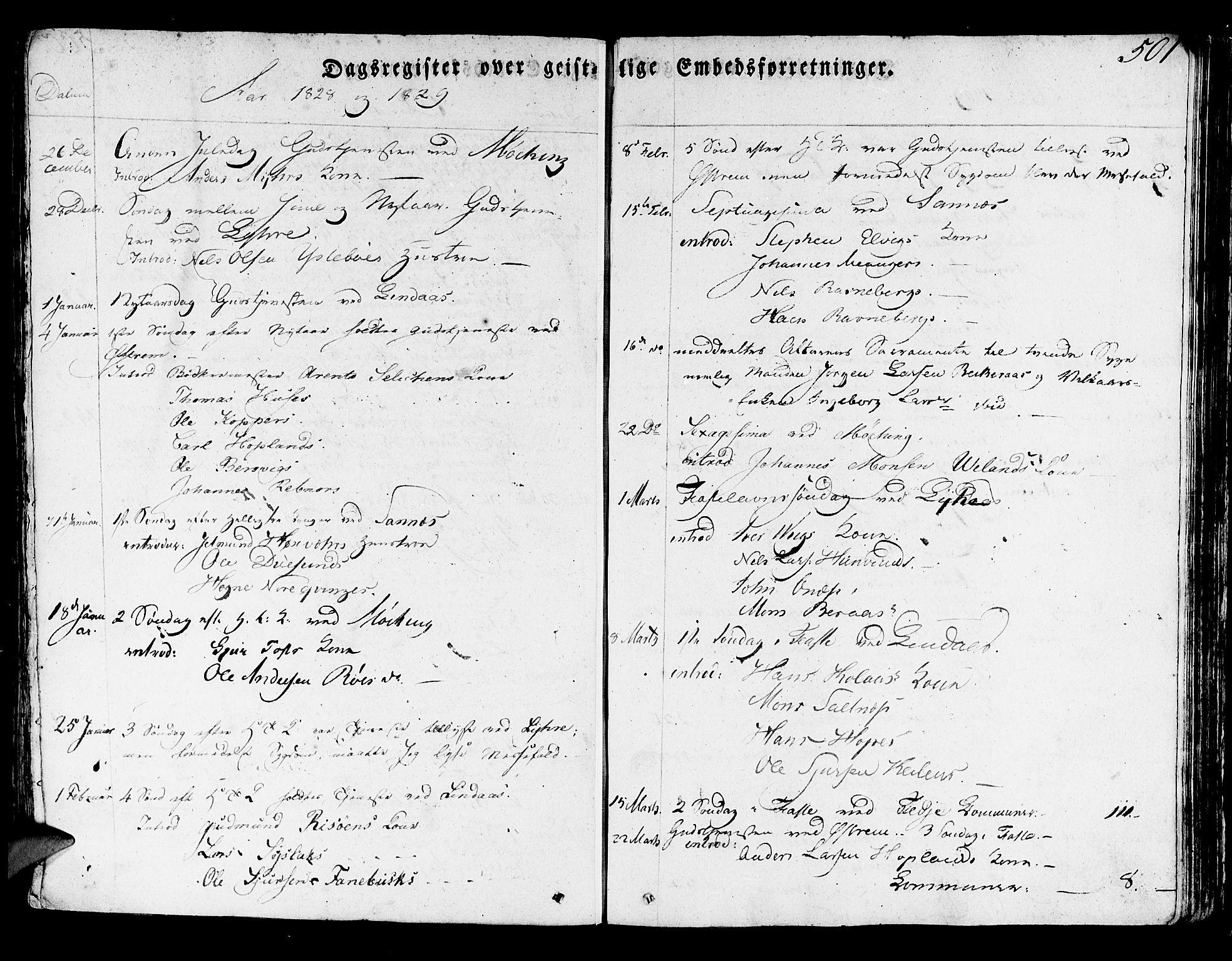SAB, Lindås Sokneprestembete, H/Haa: Ministerialbok nr. A 8, 1823-1836, s. 501