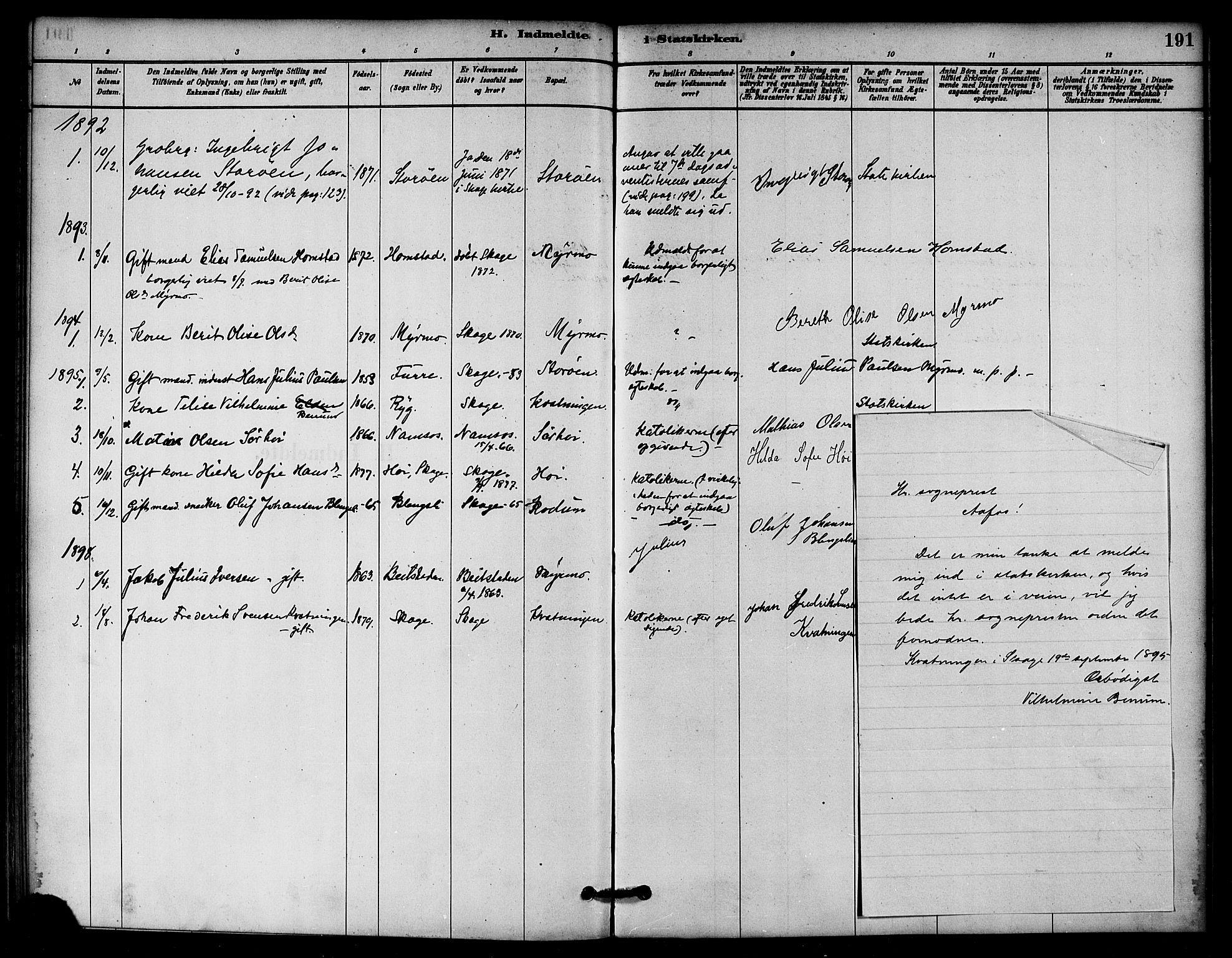 SAT, Ministerialprotokoller, klokkerbøker og fødselsregistre - Nord-Trøndelag, 766/L0563: Ministerialbok nr. 767A01, 1881-1899, s. 191