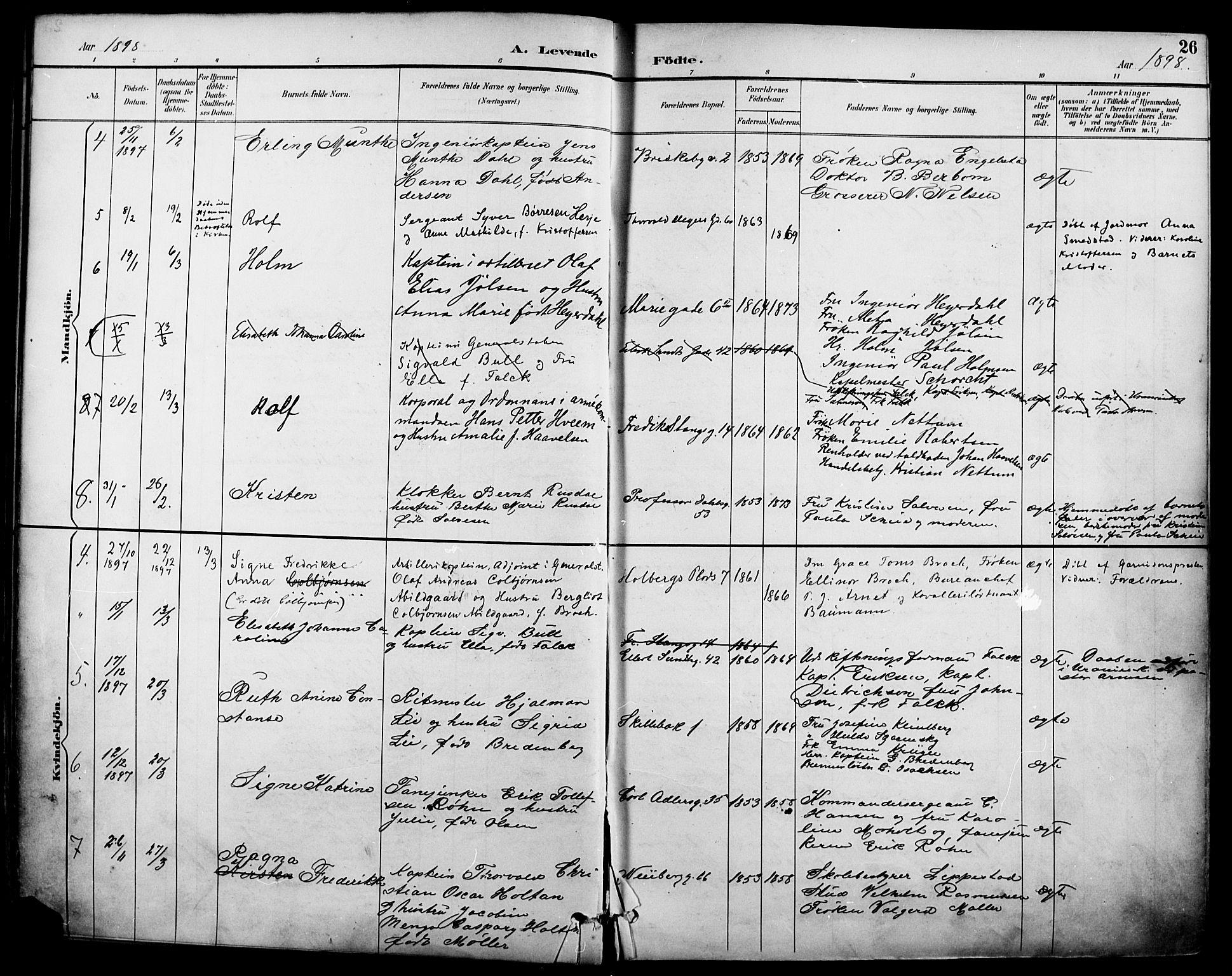 SAO, Garnisonsmenigheten Kirkebøker, F/Fa/L0013: Ministerialbok nr. 13, 1894-1904, s. 26