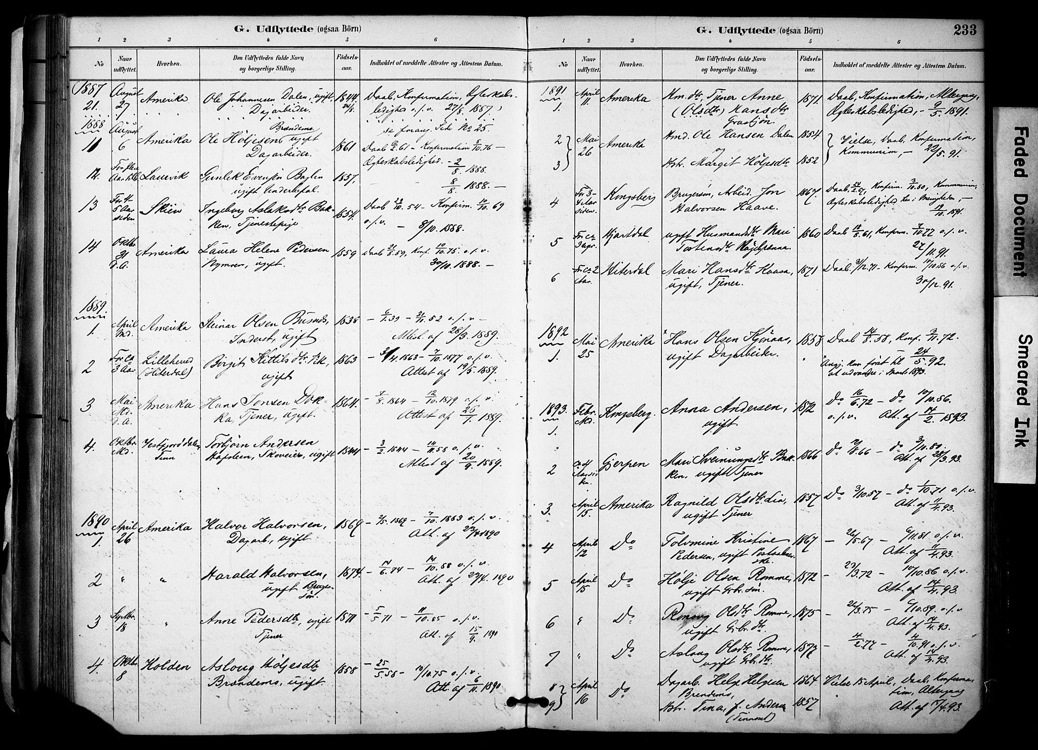 SAKO, Gransherad kirkebøker, F/Fa/L0005: Ministerialbok nr. I 5, 1887-1916, s. 233