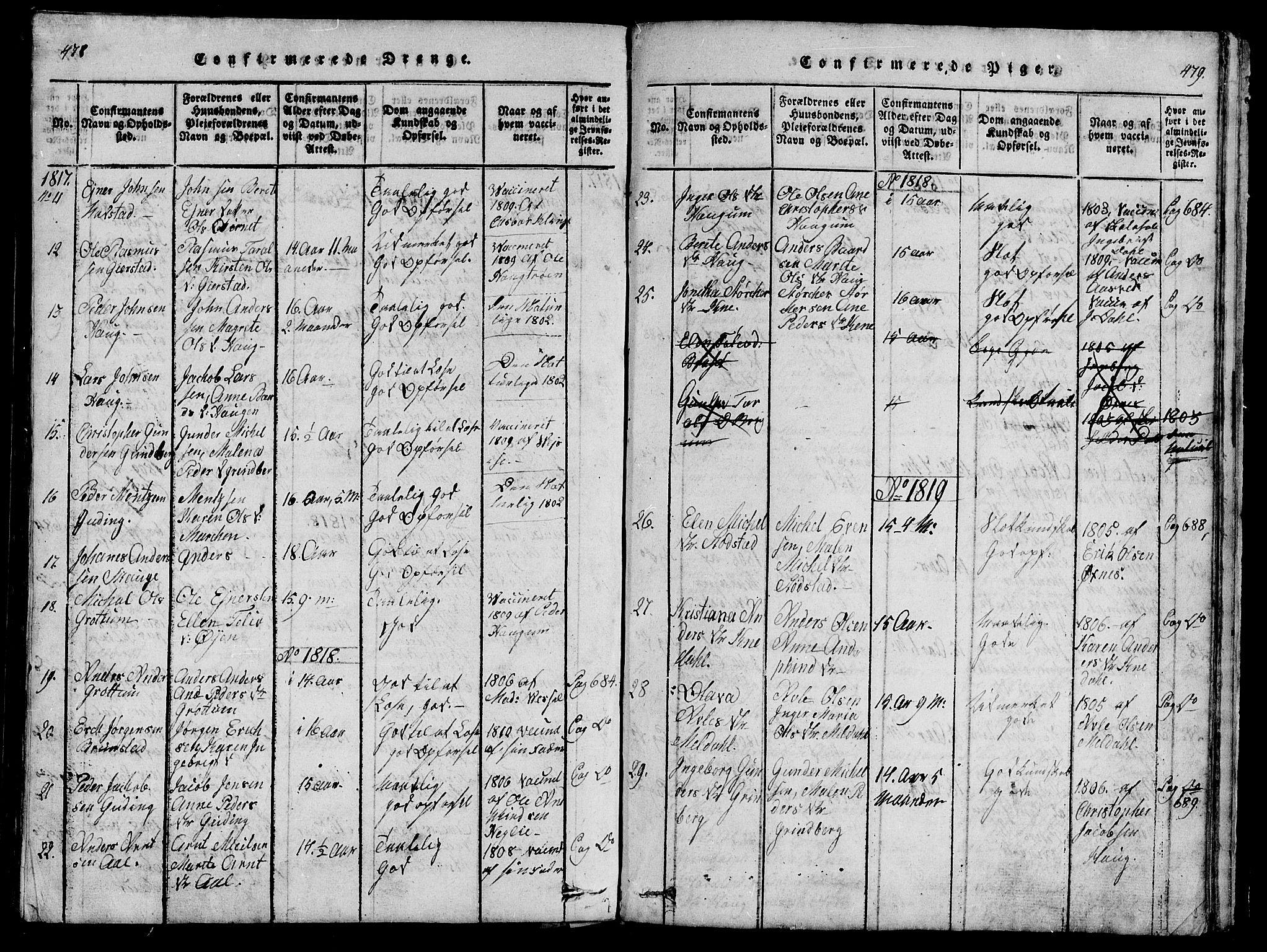 SAT, Ministerialprotokoller, klokkerbøker og fødselsregistre - Nord-Trøndelag, 747/L0459: Klokkerbok nr. 747C01, 1816-1842, s. 478-479