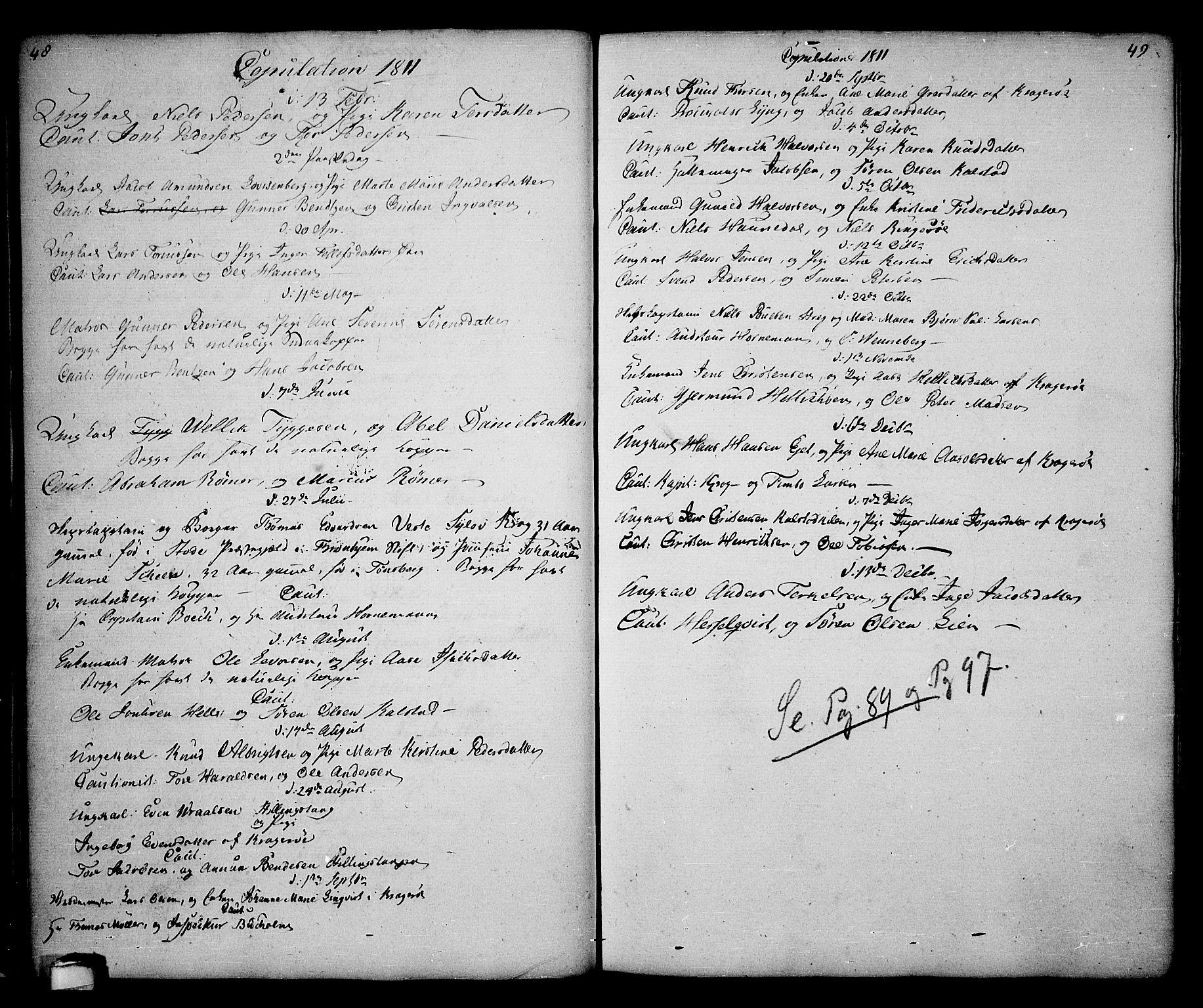 SAKO, Kragerø kirkebøker, G/Ga/L0001: Klokkerbok nr. 1 /1, 1806-1811, s. 48-49