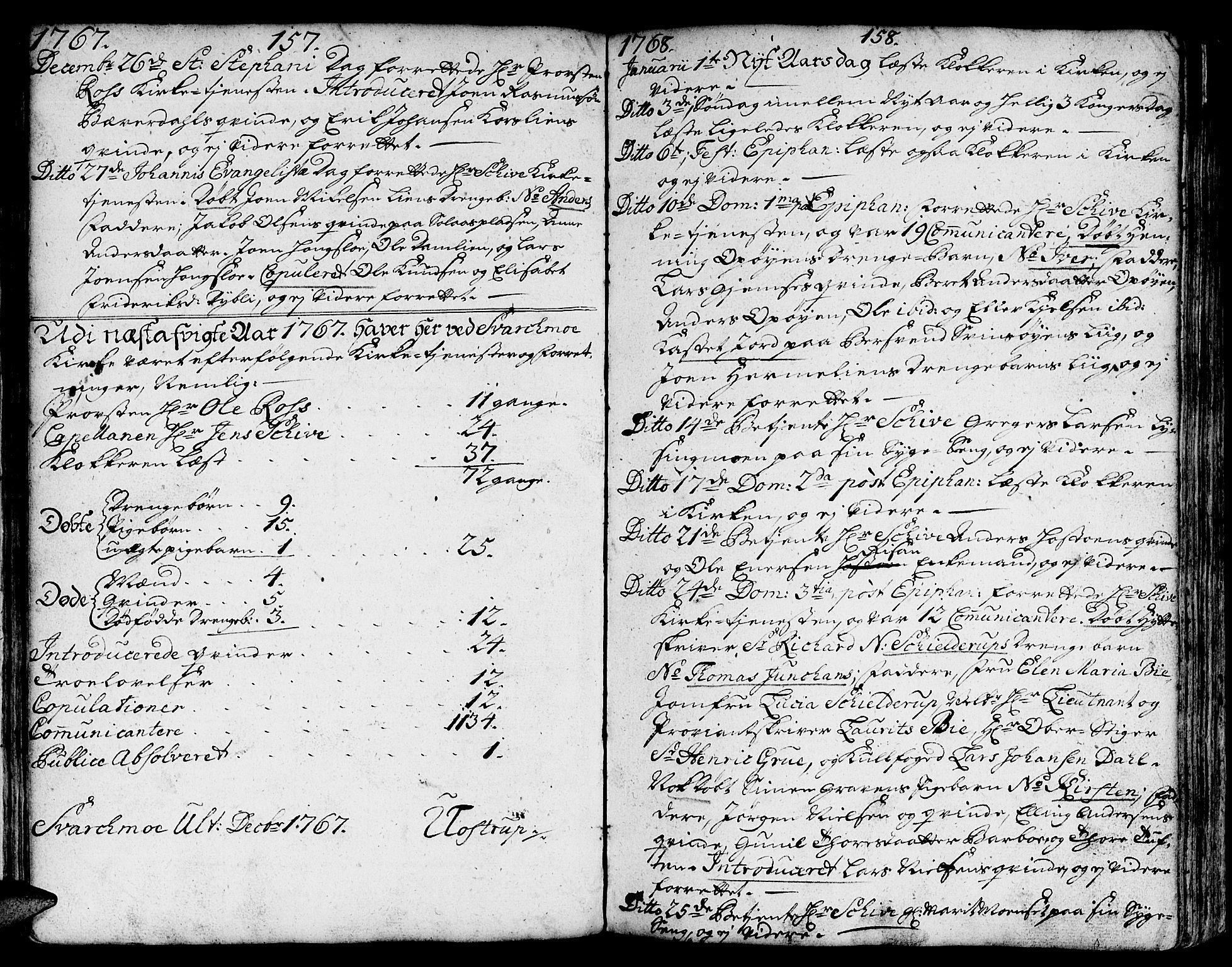 SAT, Ministerialprotokoller, klokkerbøker og fødselsregistre - Sør-Trøndelag, 671/L0840: Ministerialbok nr. 671A02, 1756-1794, s. 157-158