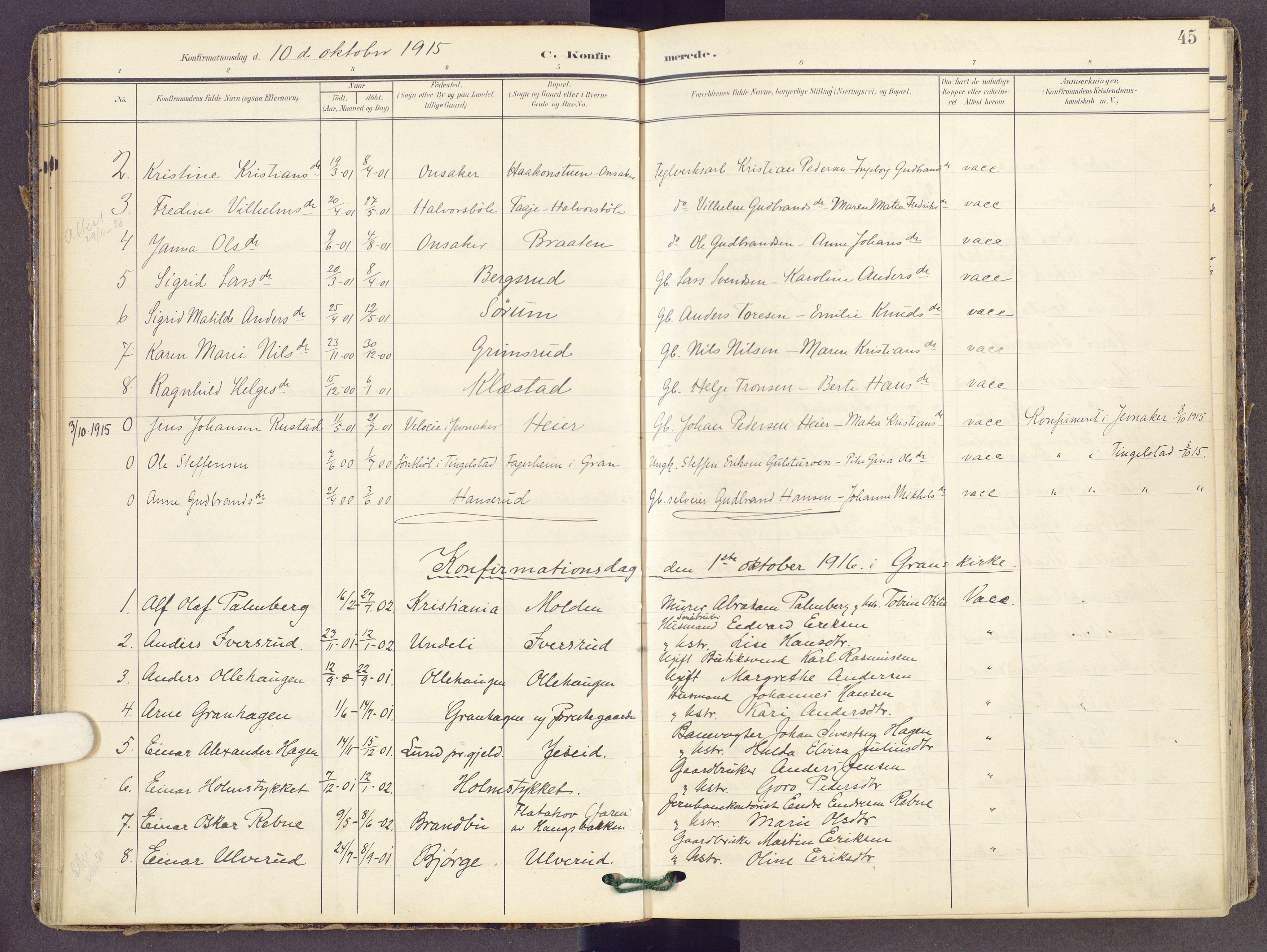 SAH, Gran prestekontor, Ministerialbok nr. 22, 1908-1918, s. 45