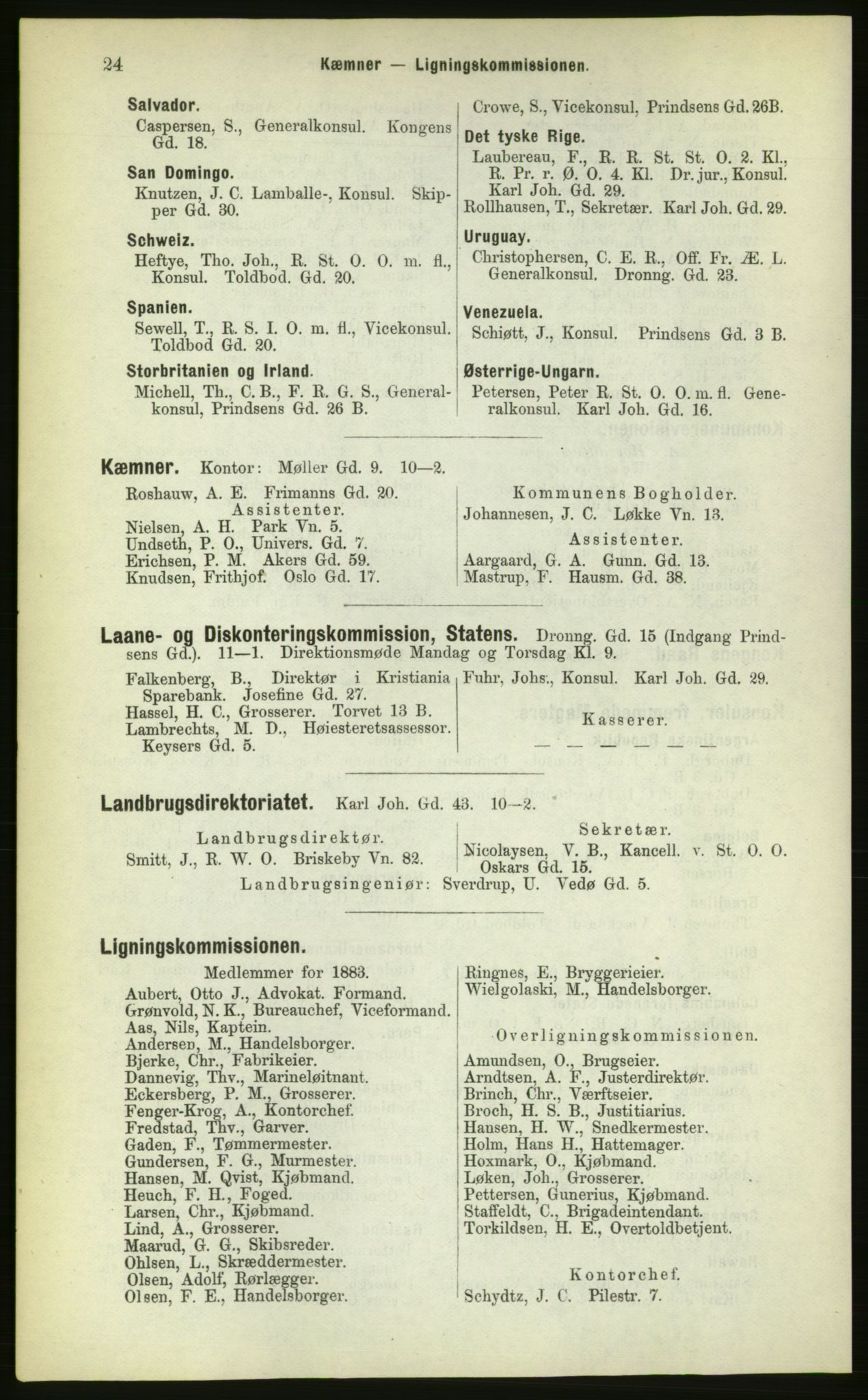 PUBL, Kristiania/Oslo adressebok, 1883, s. 24