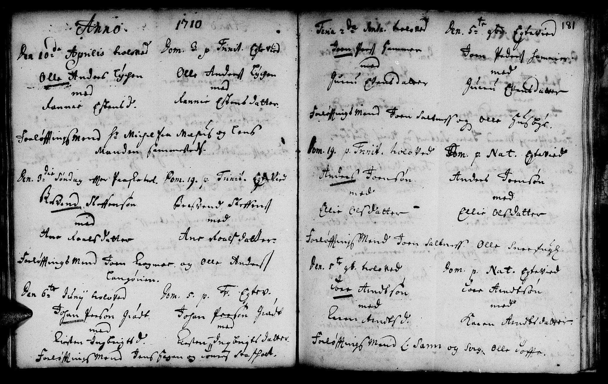 SAT, Ministerialprotokoller, klokkerbøker og fødselsregistre - Sør-Trøndelag, 666/L0783: Ministerialbok nr. 666A01, 1702-1753, s. 181