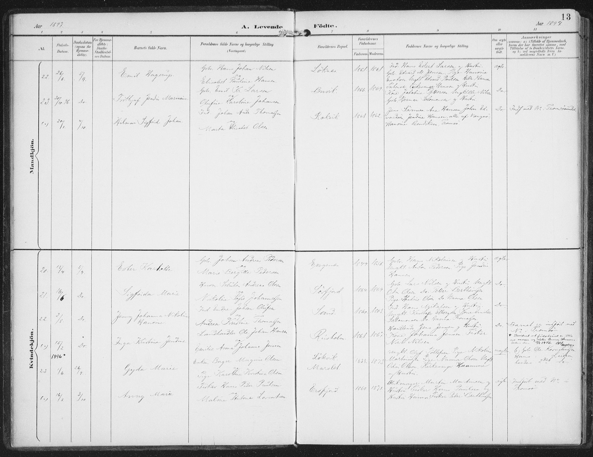 SATØ, Lenvik sokneprestembete, H/Ha/Haa/L0015kirke: Ministerialbok nr. 15, 1896-1915, s. 13