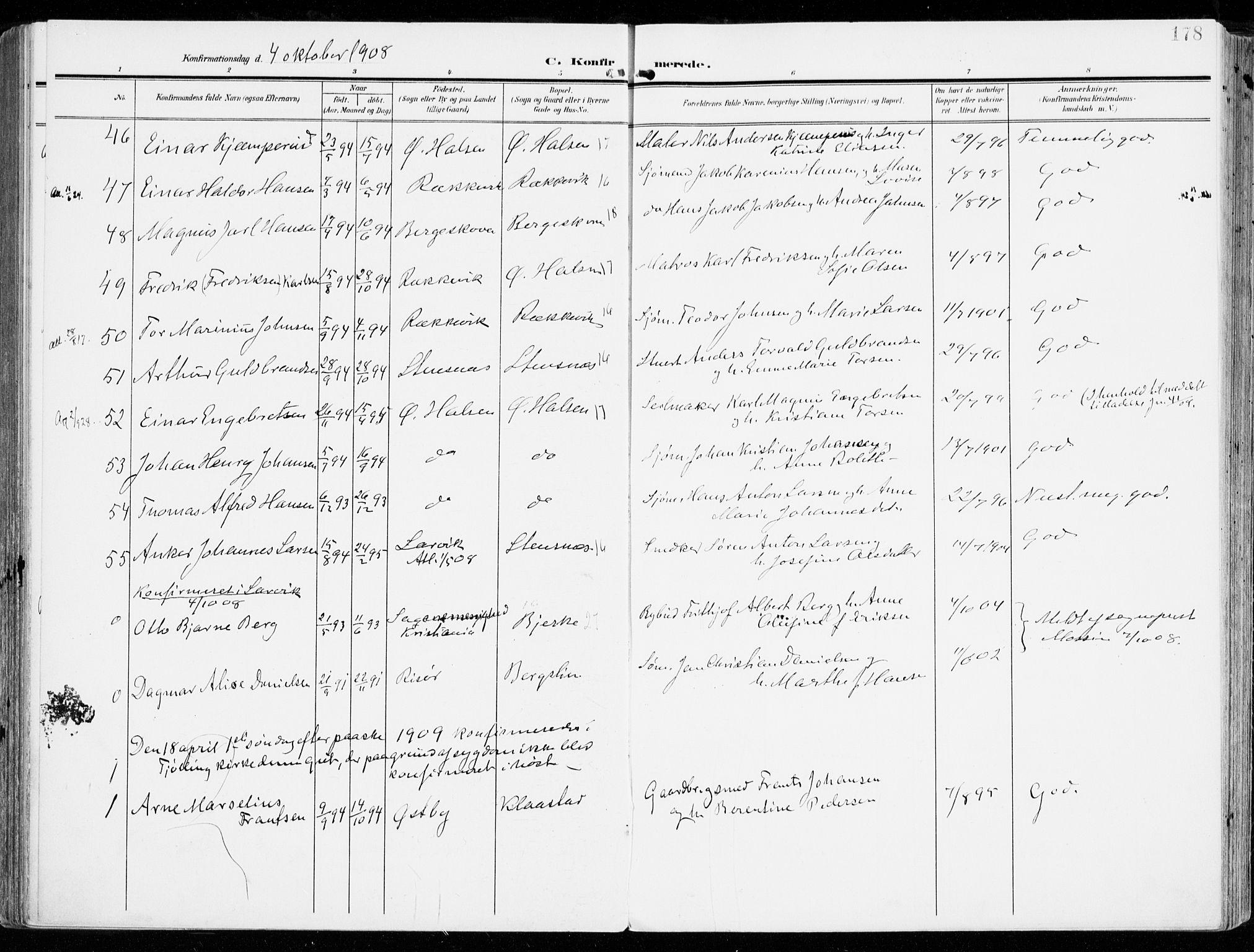 SAKO, Tjølling kirkebøker, F/Fa/L0010: Ministerialbok nr. 10, 1906-1923, s. 178