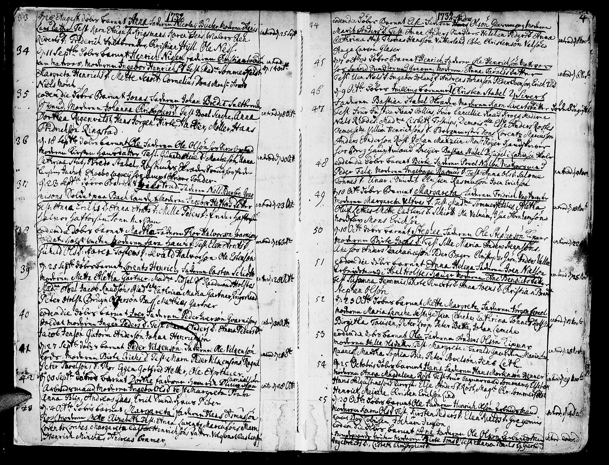 SAT, Ministerialprotokoller, klokkerbøker og fødselsregistre - Sør-Trøndelag, 602/L0103: Ministerialbok nr. 602A01, 1732-1774, s. 4