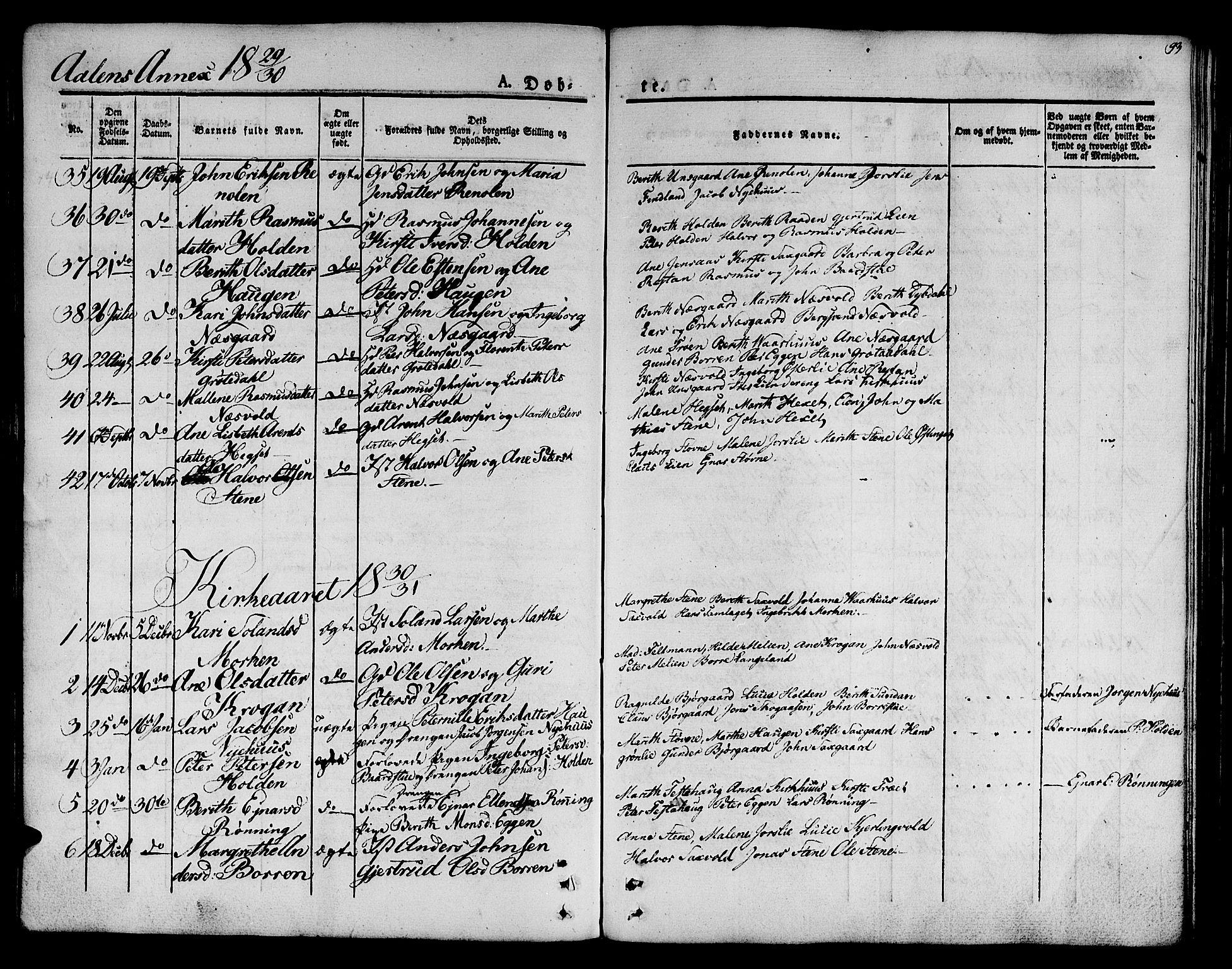 SAT, Ministerialprotokoller, klokkerbøker og fødselsregistre - Sør-Trøndelag, 685/L0959: Ministerialbok nr. 685A04 /3, 1829-1845, s. 93