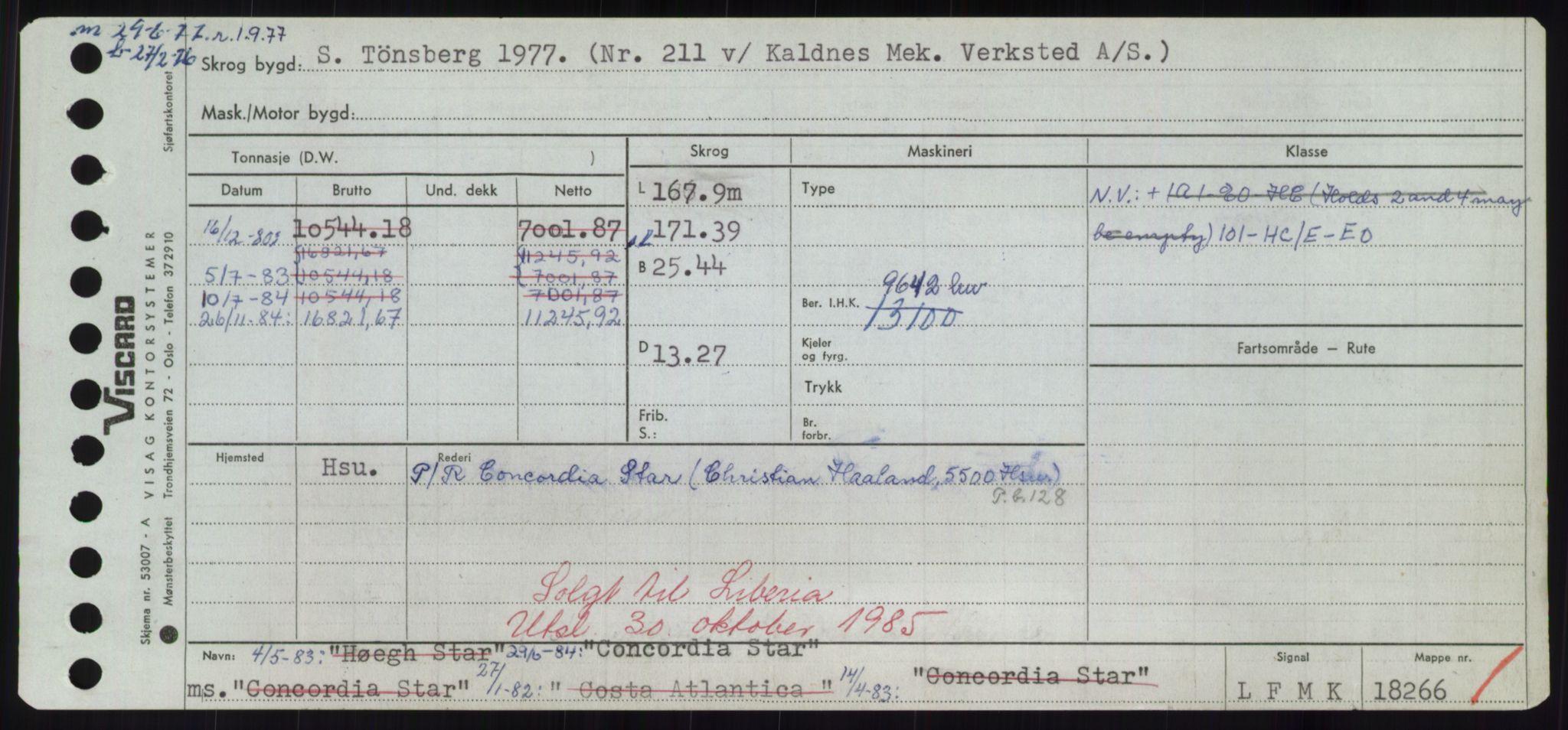 RA, Sjøfartsdirektoratet med forløpere, Skipsmålingen, H/Hd/L0008: Fartøy, C-D, s. 169