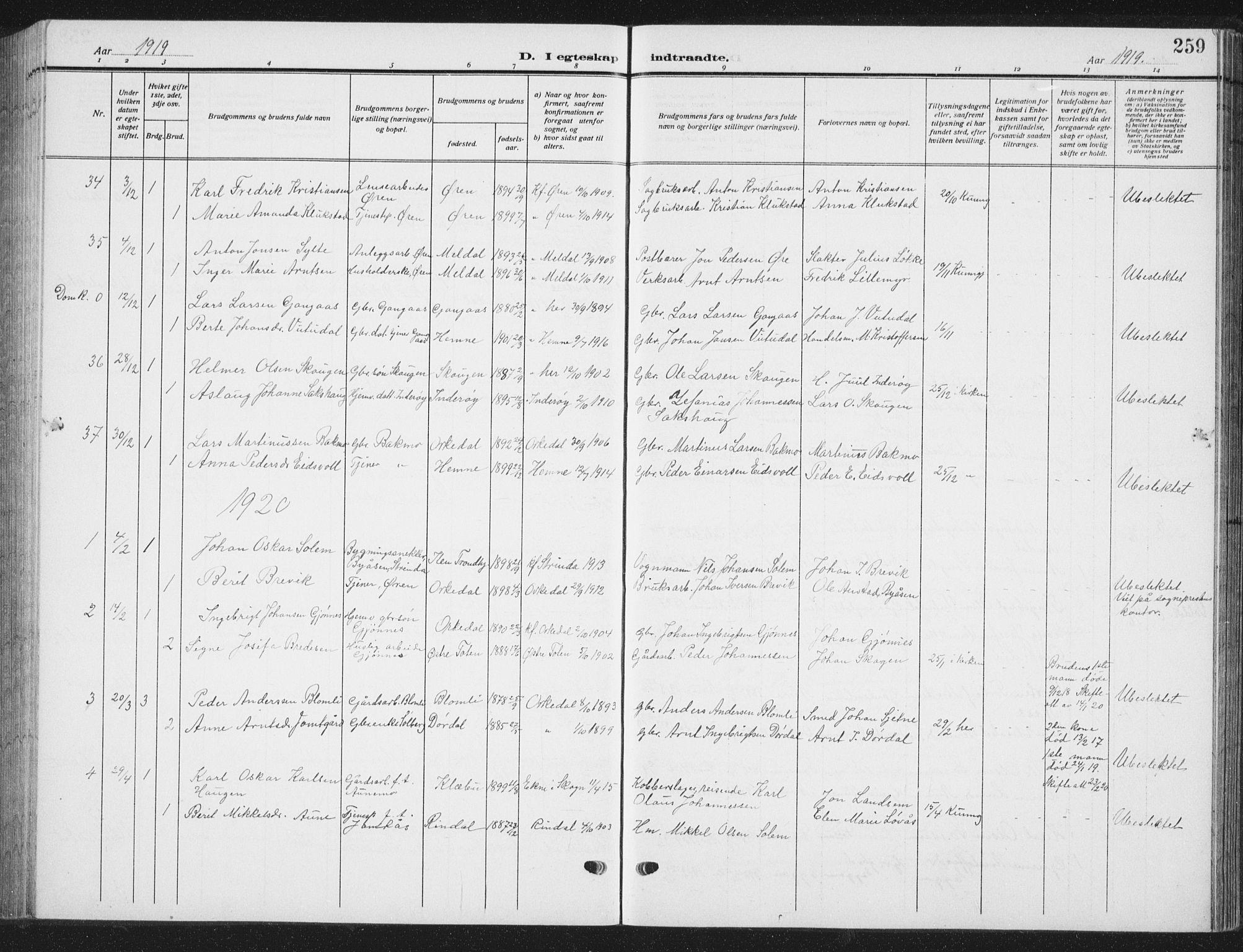 SAT, Ministerialprotokoller, klokkerbøker og fødselsregistre - Sør-Trøndelag, 668/L0820: Klokkerbok nr. 668C09, 1912-1936, s. 259