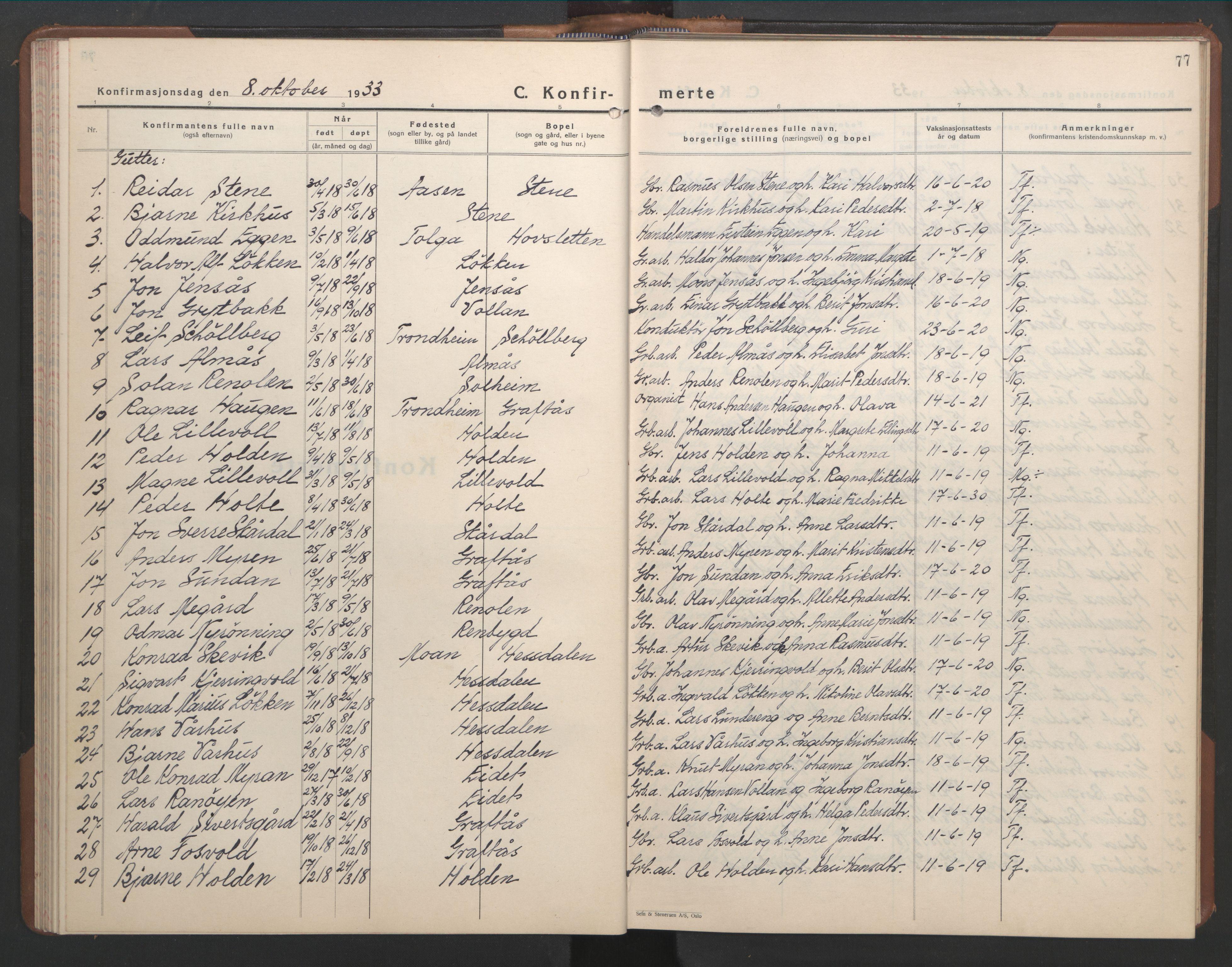 SAT, Ministerialprotokoller, klokkerbøker og fødselsregistre - Sør-Trøndelag, 686/L0986: Klokkerbok nr. 686C02, 1933-1950, s. 77