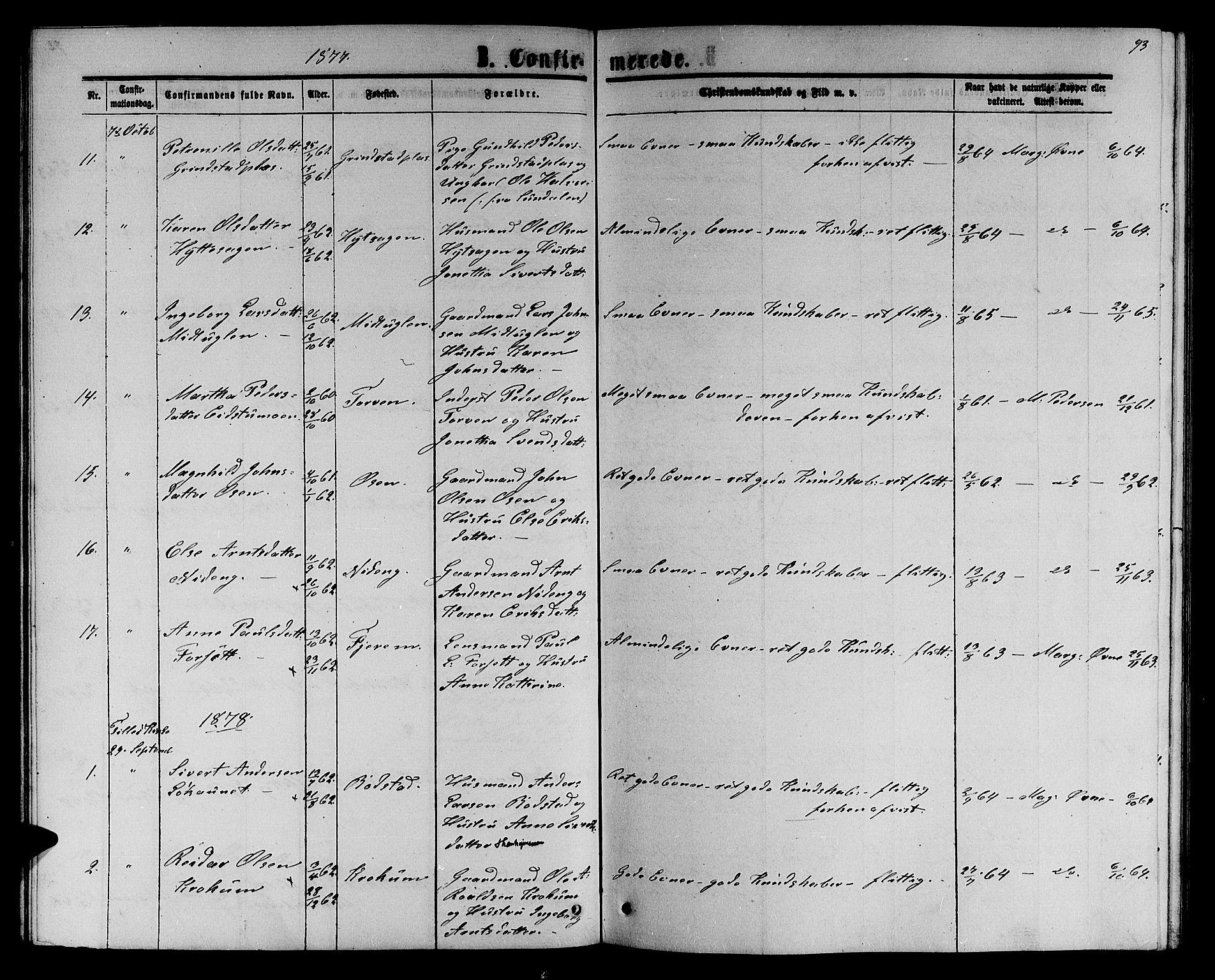 SAT, Ministerialprotokoller, klokkerbøker og fødselsregistre - Sør-Trøndelag, 618/L0451: Klokkerbok nr. 618C02, 1865-1883, s. 93