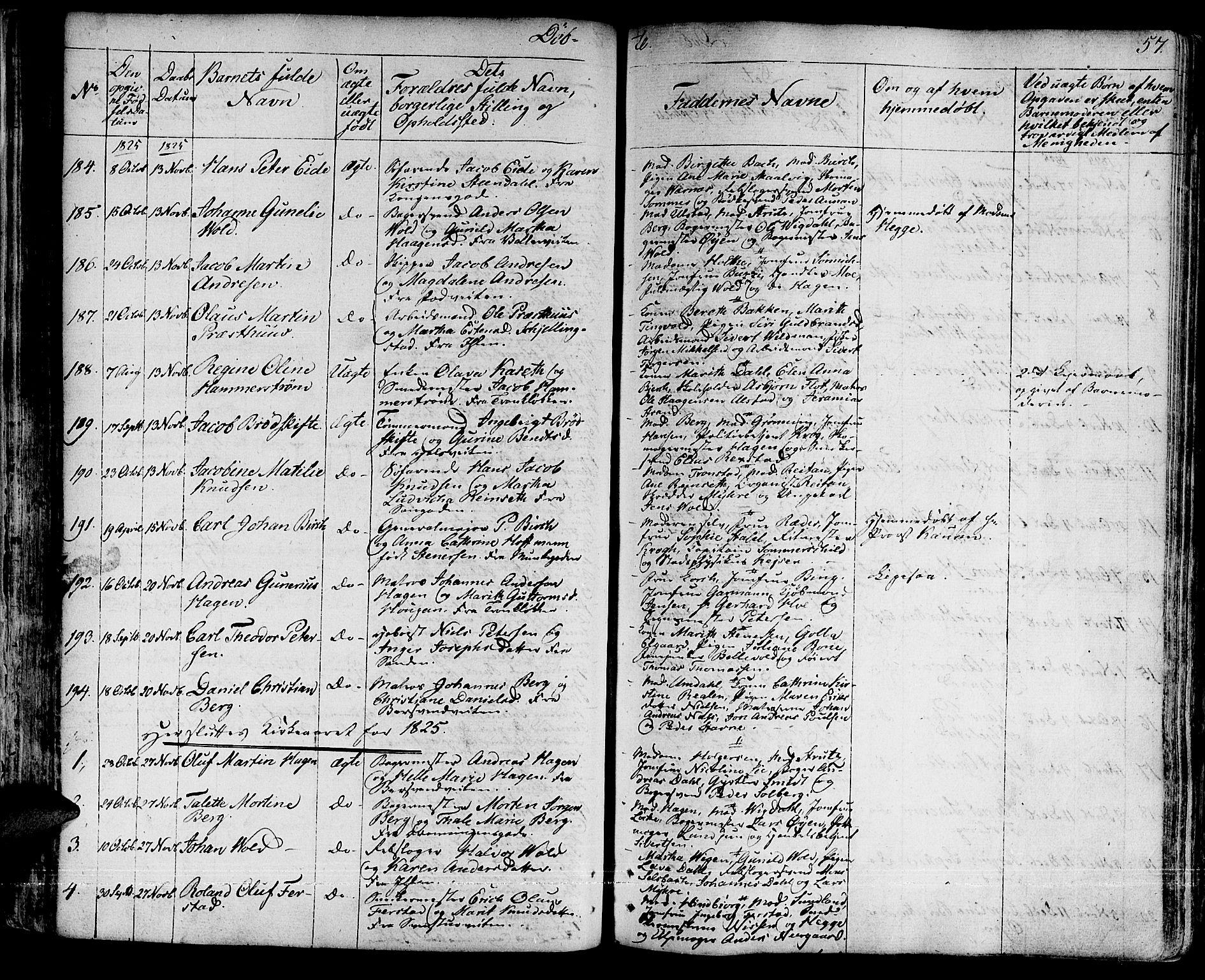SAT, Ministerialprotokoller, klokkerbøker og fødselsregistre - Sør-Trøndelag, 601/L0045: Ministerialbok nr. 601A13, 1821-1831, s. 57