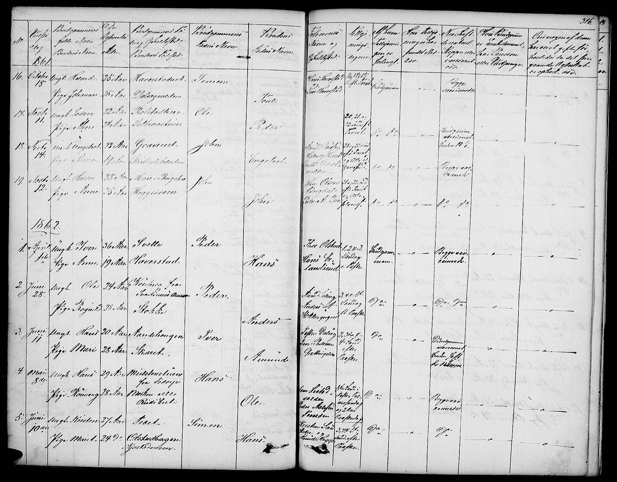 SAH, Sør-Fron prestekontor, H/Ha/Hab/L0001: Klokkerbok nr. 1, 1844-1863, s. 316