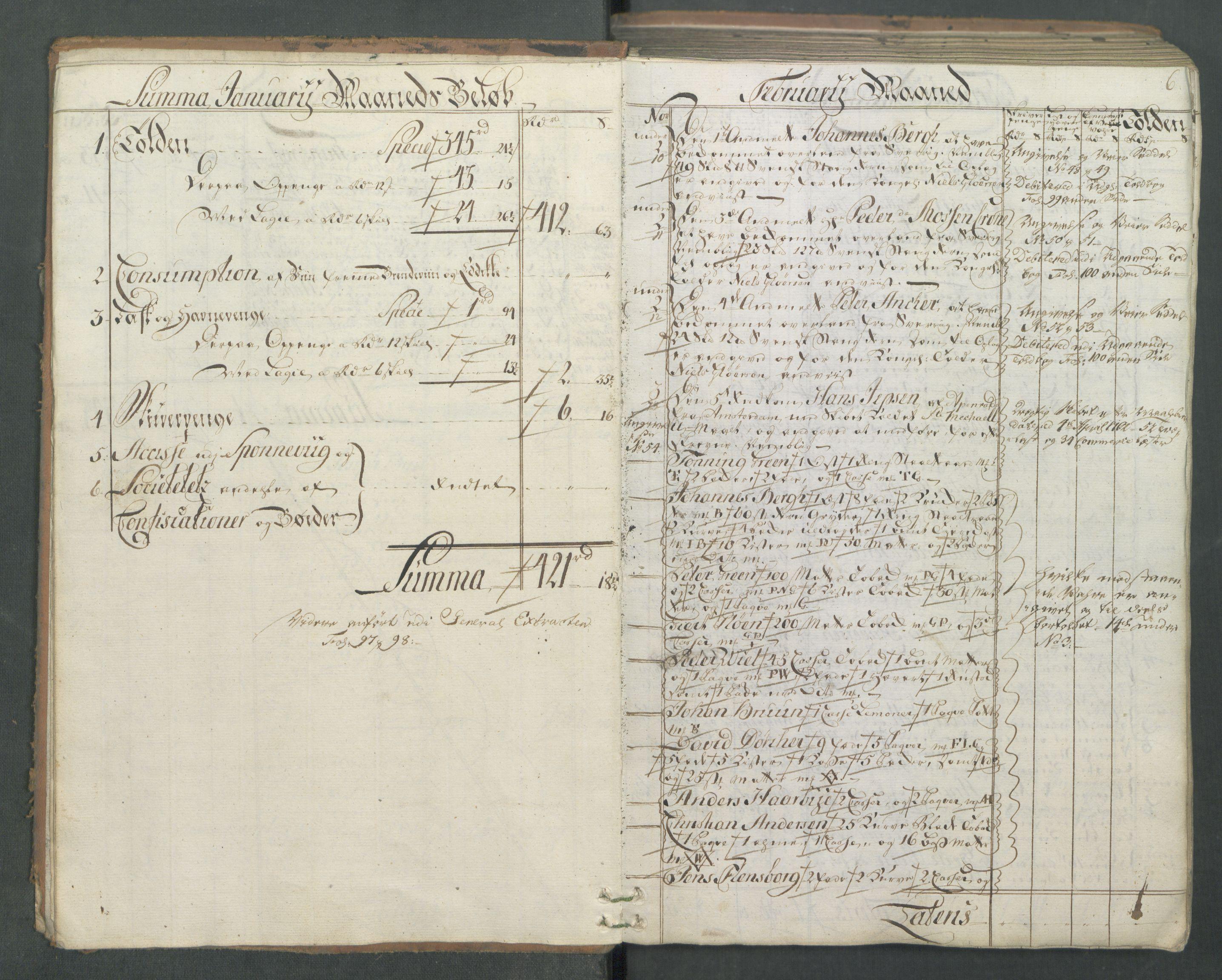RA, Generaltollkammeret, tollregnskaper, R01/L0046: Tollregnskaper Fredrikshald, 1762, s. 5b-6a