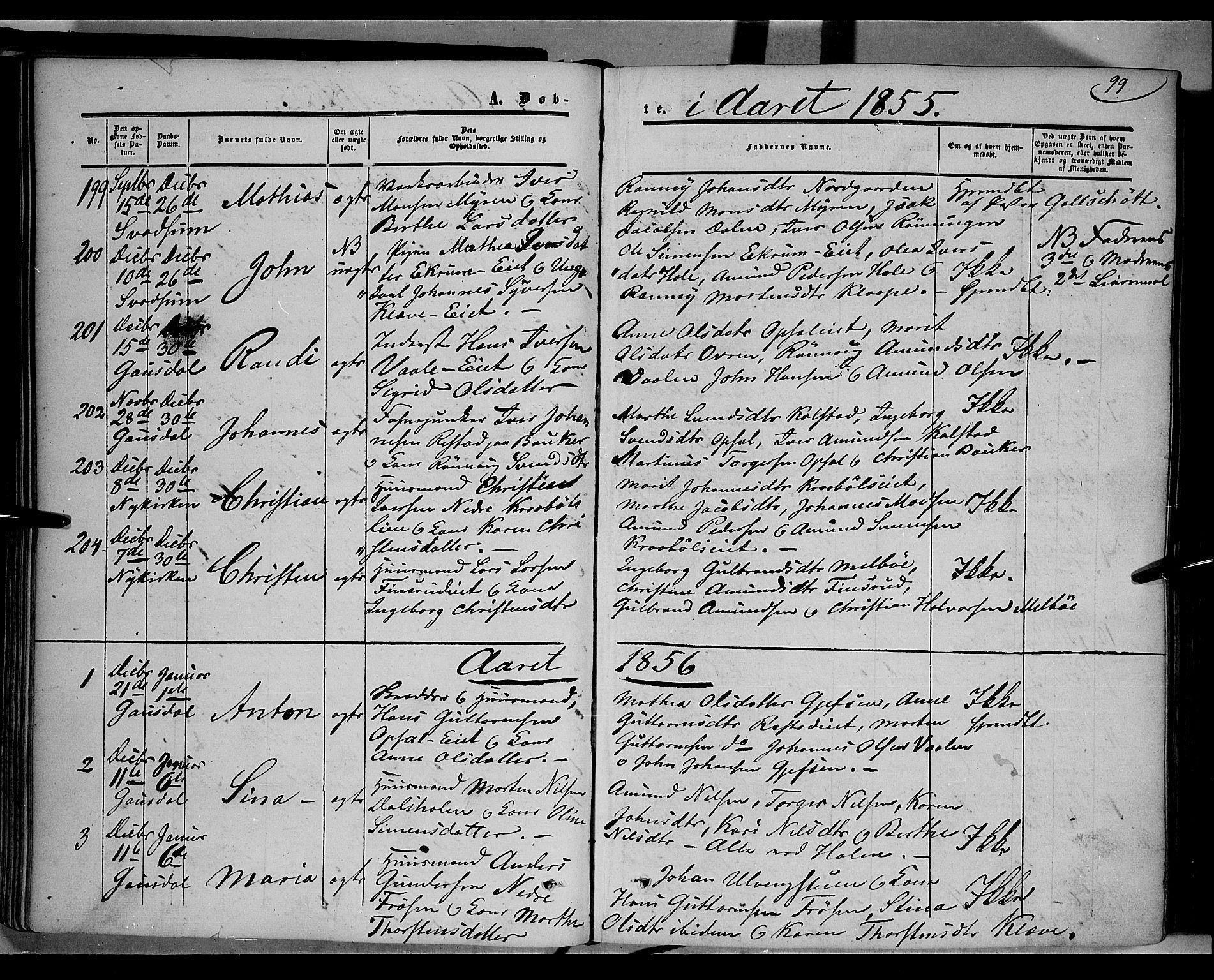 SAH, Gausdal prestekontor, Ministerialbok nr. 8, 1850-1861, s. 99