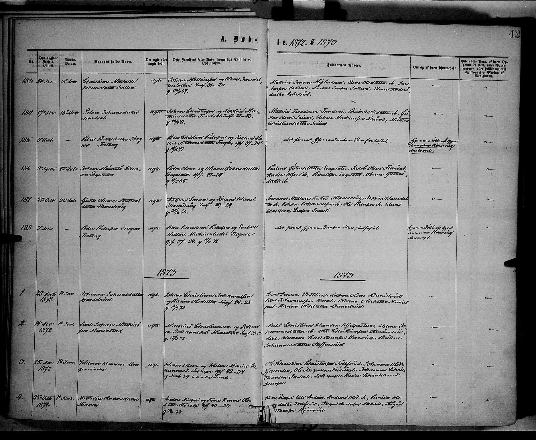 SAH, Vestre Toten prestekontor, Ministerialbok nr. 8, 1870-1877, s. 42