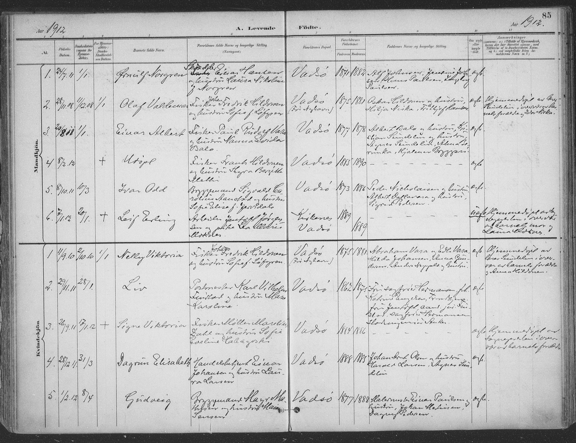 SATØ, Vadsø sokneprestkontor, H/Ha/L0007kirke: Ministerialbok nr. 7, 1896-1916, s. 85