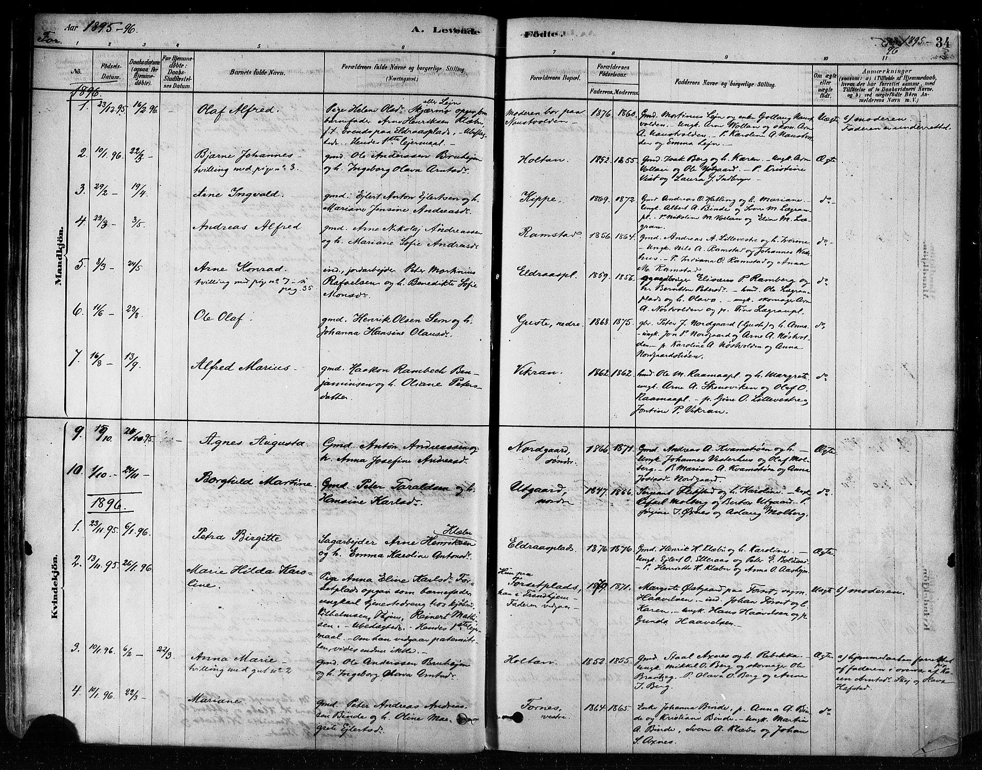 SAT, Ministerialprotokoller, klokkerbøker og fødselsregistre - Nord-Trøndelag, 746/L0448: Ministerialbok nr. 746A07 /1, 1878-1900, s. 34