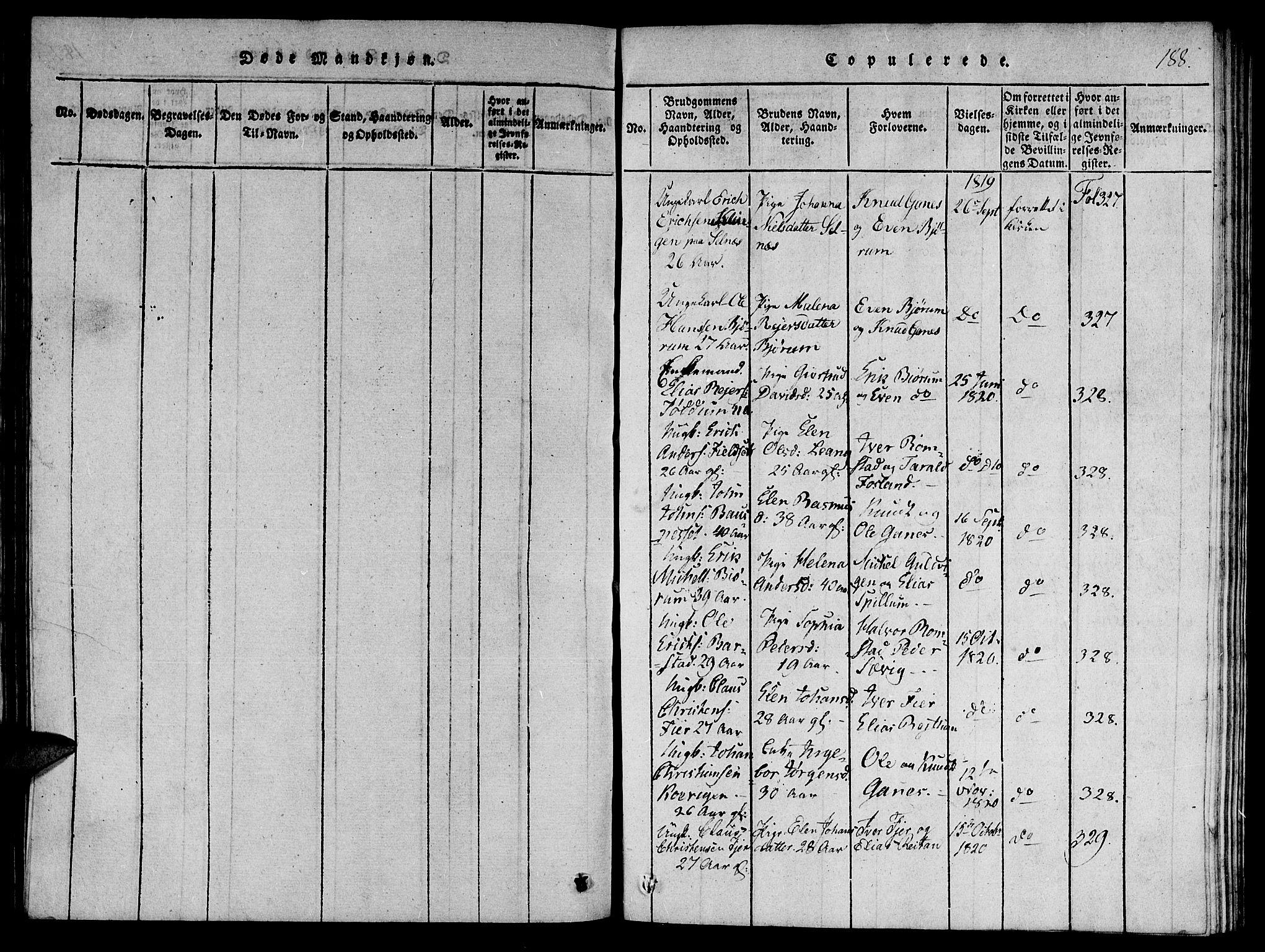 SAT, Ministerialprotokoller, klokkerbøker og fødselsregistre - Nord-Trøndelag, 770/L0588: Ministerialbok nr. 770A02, 1819-1823, s. 188