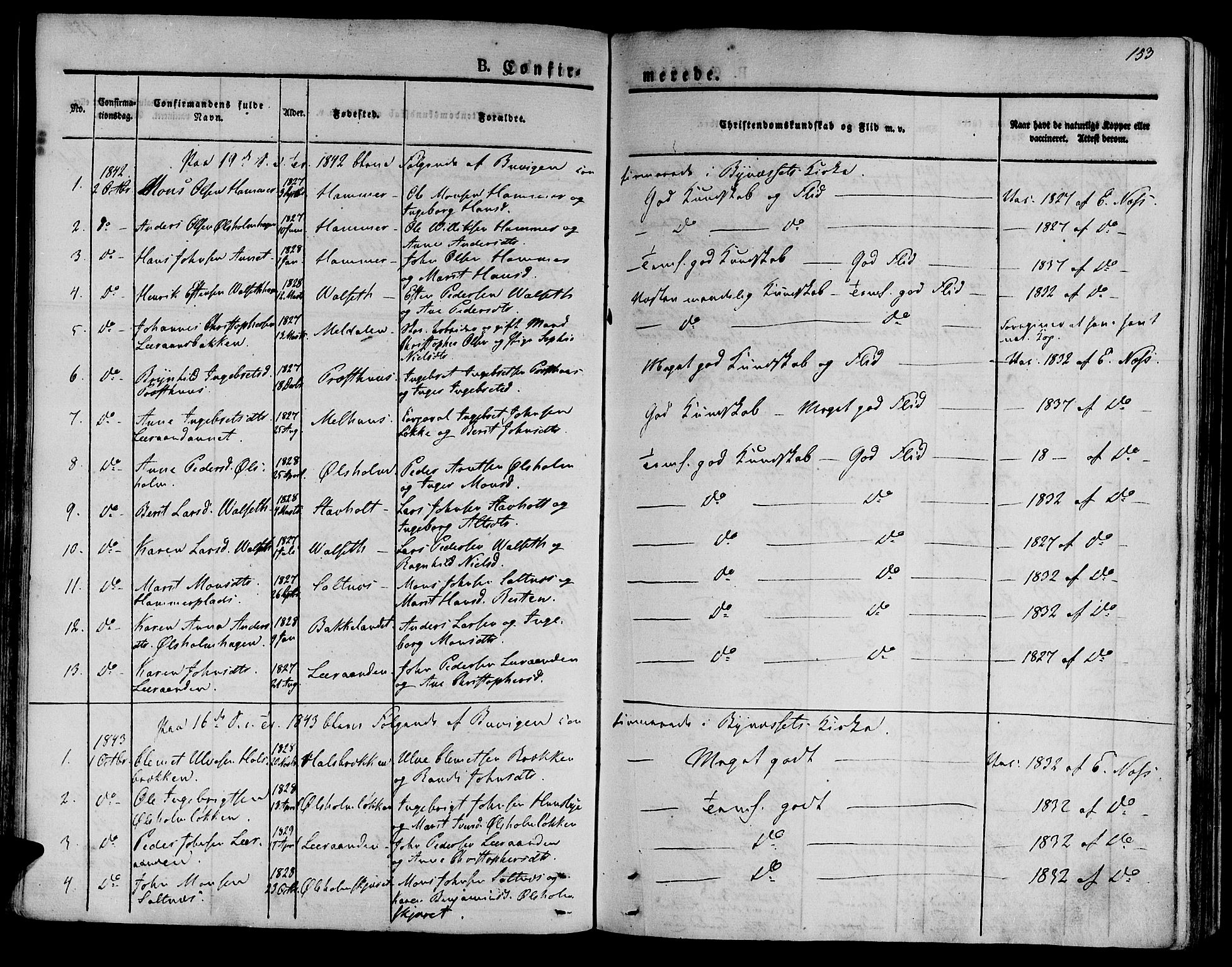 SAT, Ministerialprotokoller, klokkerbøker og fødselsregistre - Sør-Trøndelag, 612/L0375: Ministerialbok nr. 612A07 /2, 1829-1845, s. 153