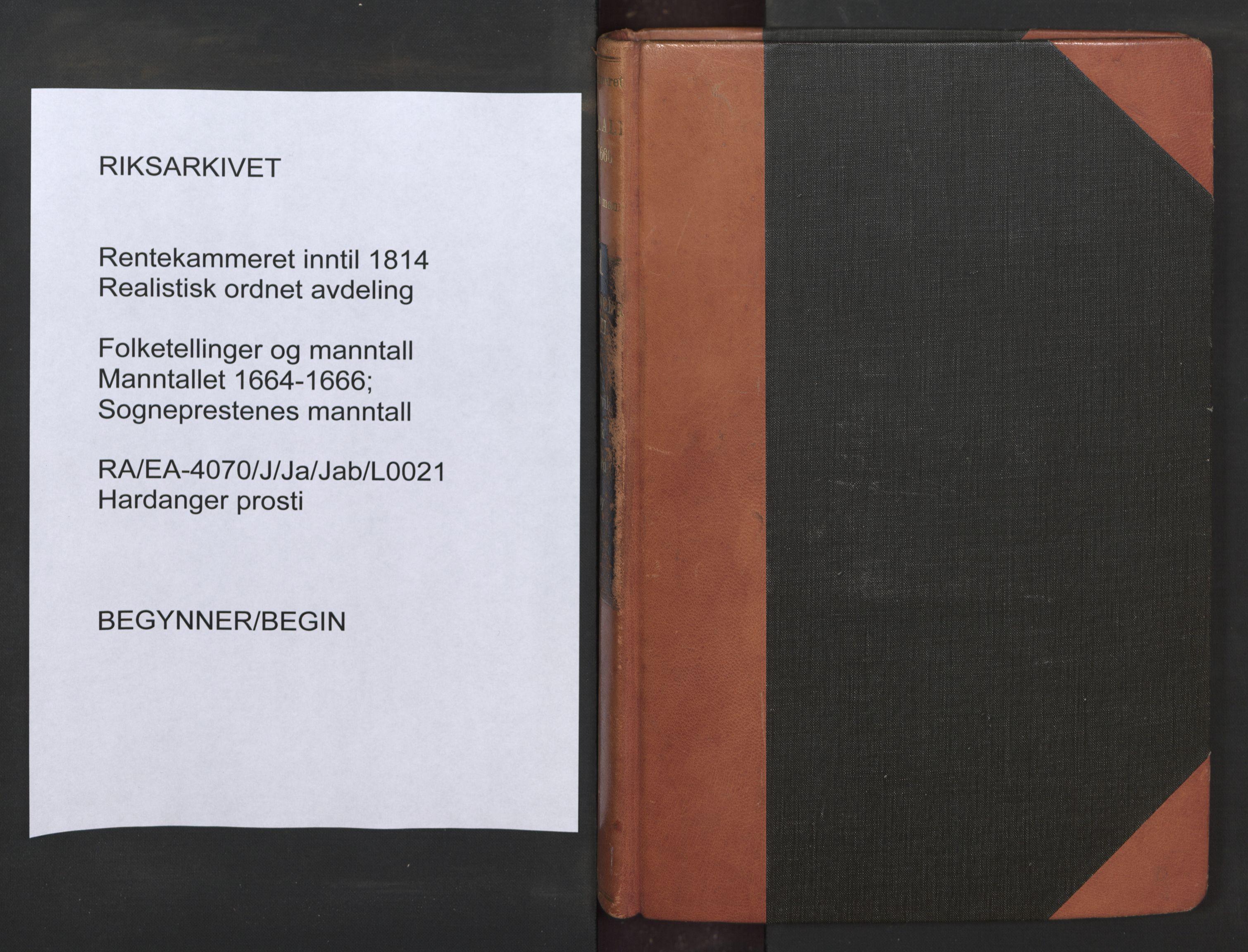 RA, Sogneprestenes manntall 1664-1666, nr. 21: Hardanger prosti, 1664-1666