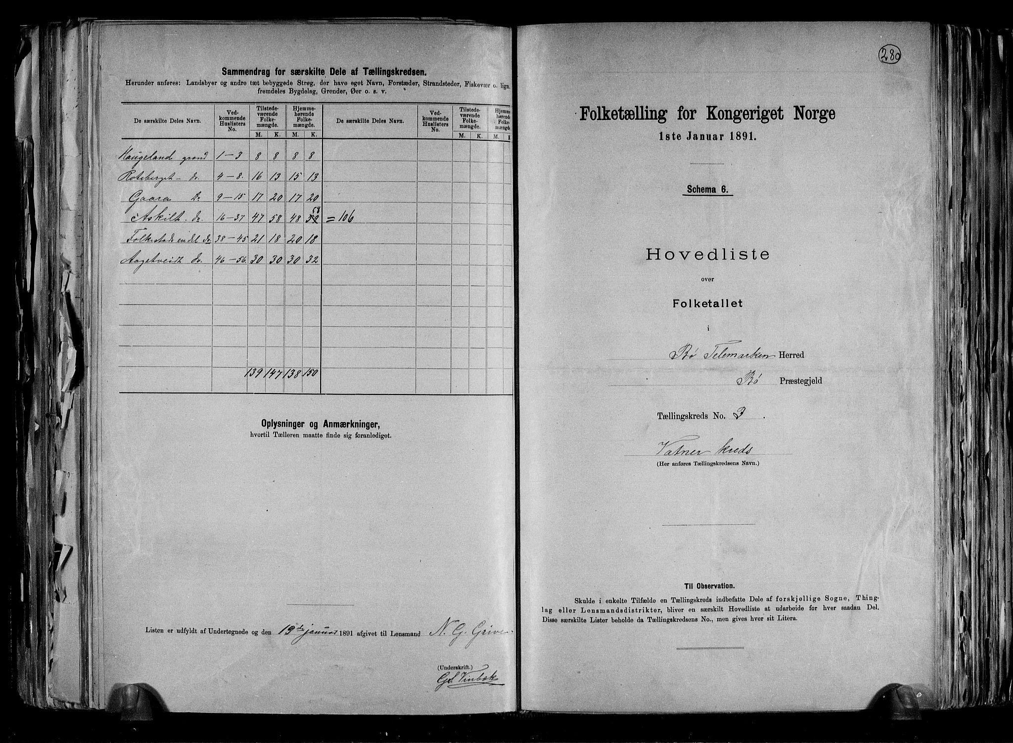 RA, Folketelling 1891 for 0821 Bø herred, 1891, s. 8