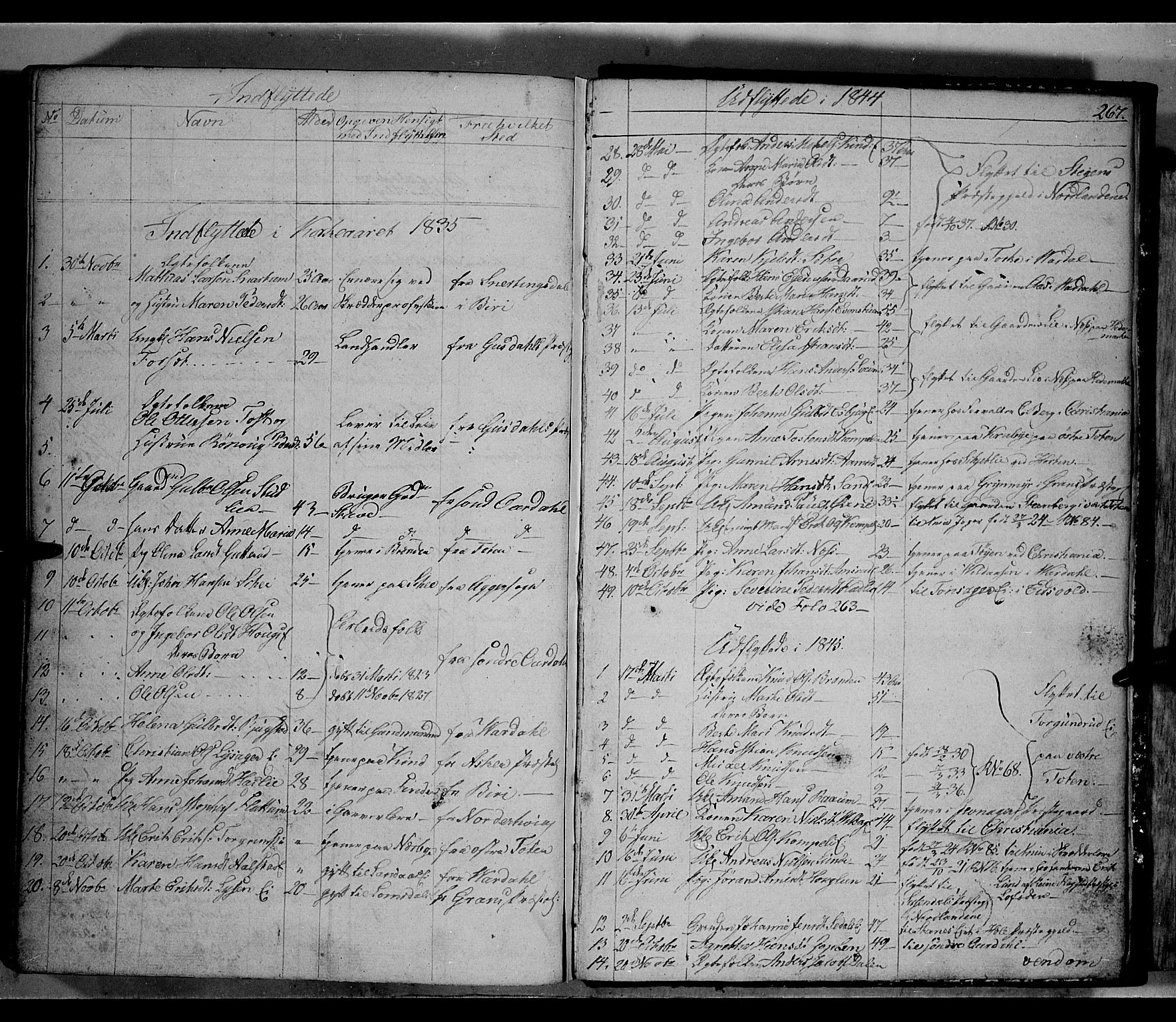 SAH, Land prestekontor, Klokkerbok nr. 2, 1833-1849, s. 267