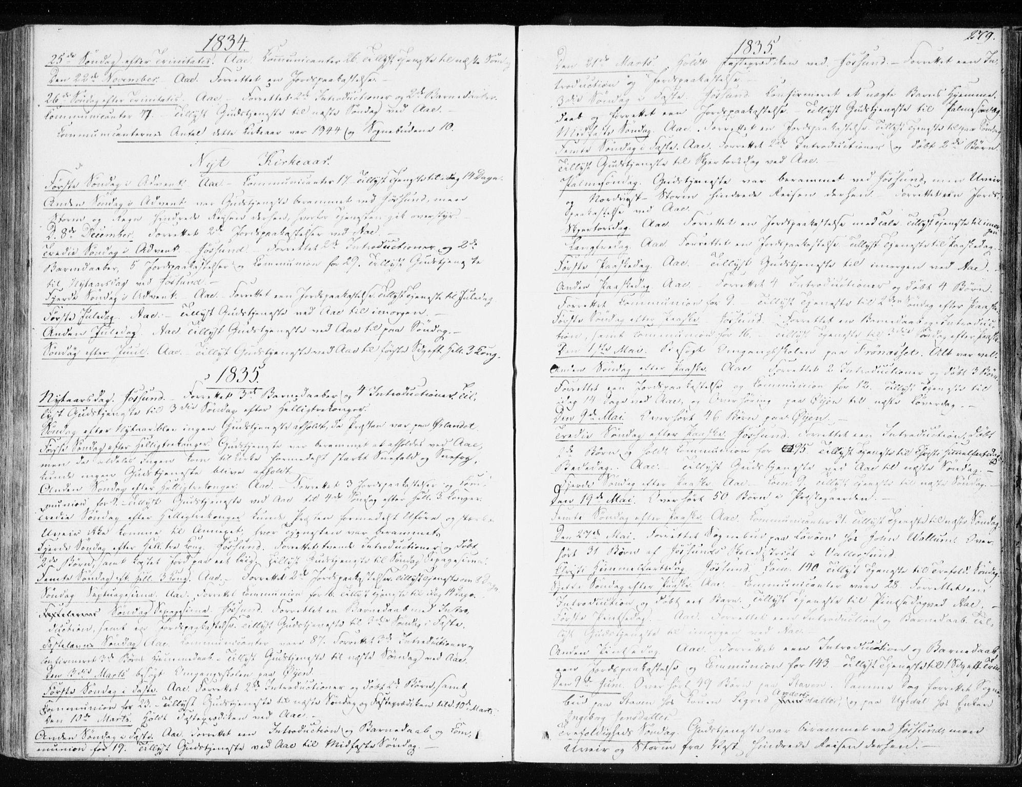 SAT, Ministerialprotokoller, klokkerbøker og fødselsregistre - Sør-Trøndelag, 655/L0676: Ministerialbok nr. 655A05, 1830-1847, s. 279