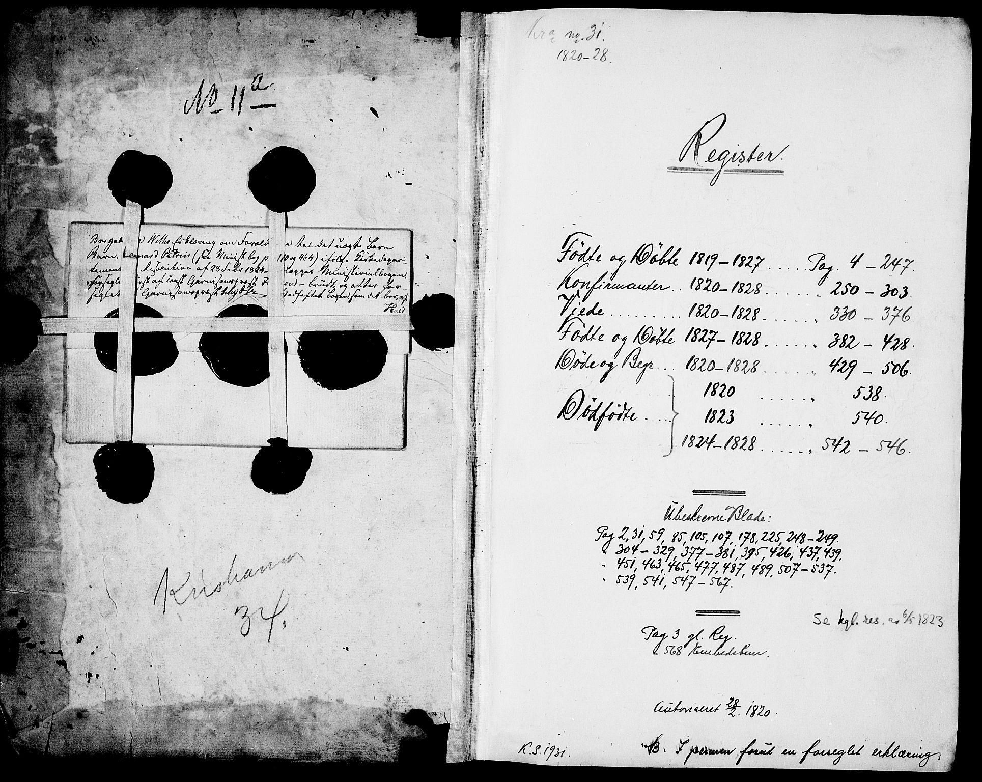 SAO, Garnisonsmenigheten Kirkebøker, F/Fa/L0004: Ministerialbok nr. 4, 1820-1828