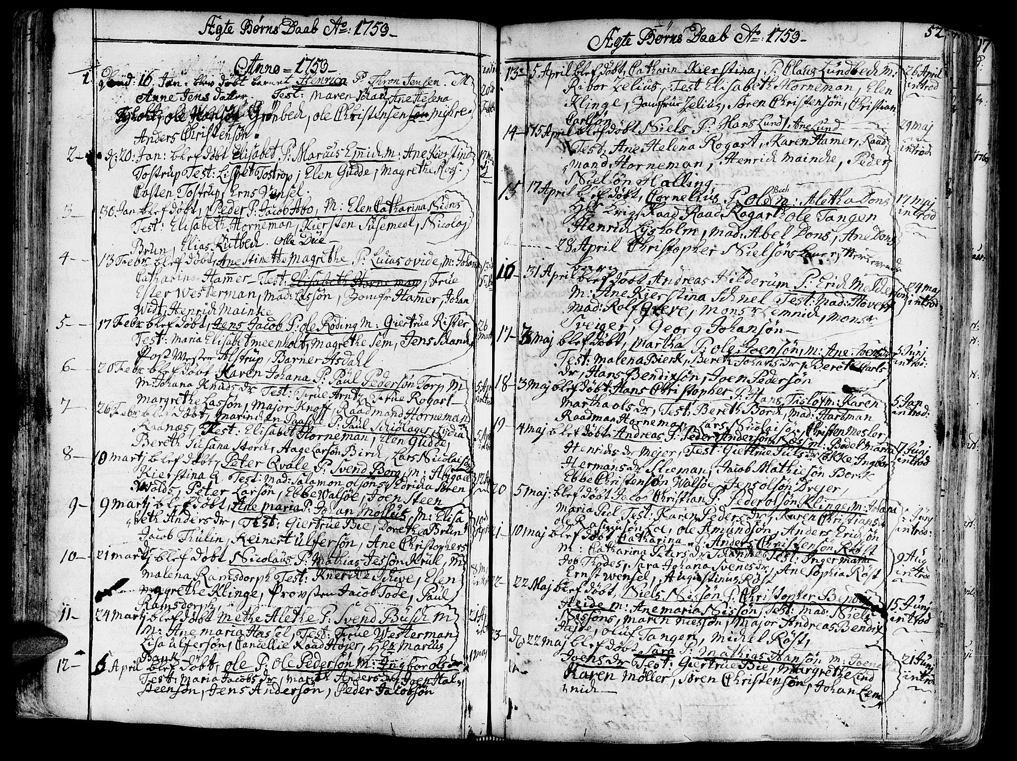 SAT, Ministerialprotokoller, klokkerbøker og fødselsregistre - Sør-Trøndelag, 602/L0103: Ministerialbok nr. 602A01, 1732-1774, s. 52