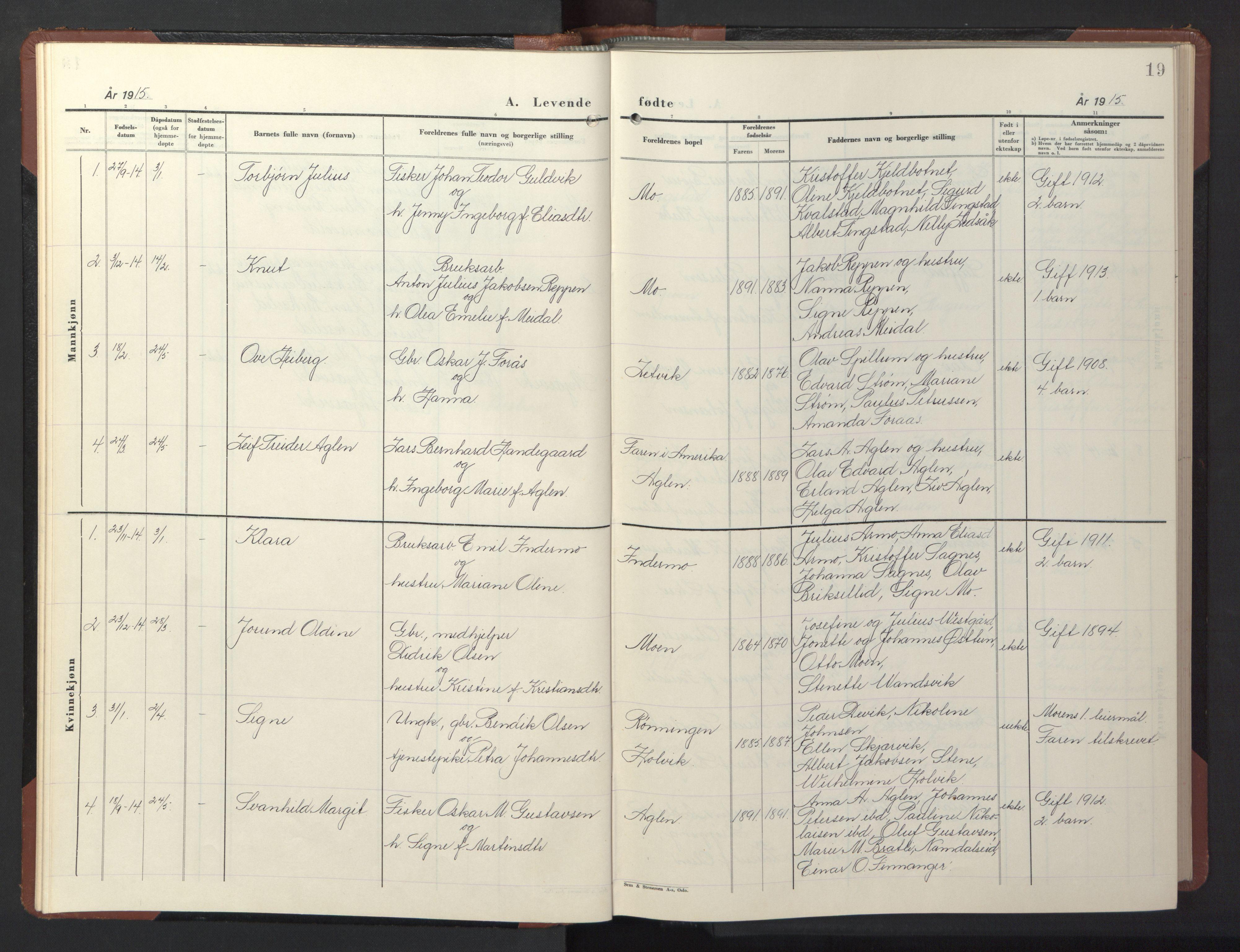 SAT, Ministerialprotokoller, klokkerbøker og fødselsregistre - Nord-Trøndelag, 773/L0625: Klokkerbok nr. 773C01, 1910-1952, s. 19