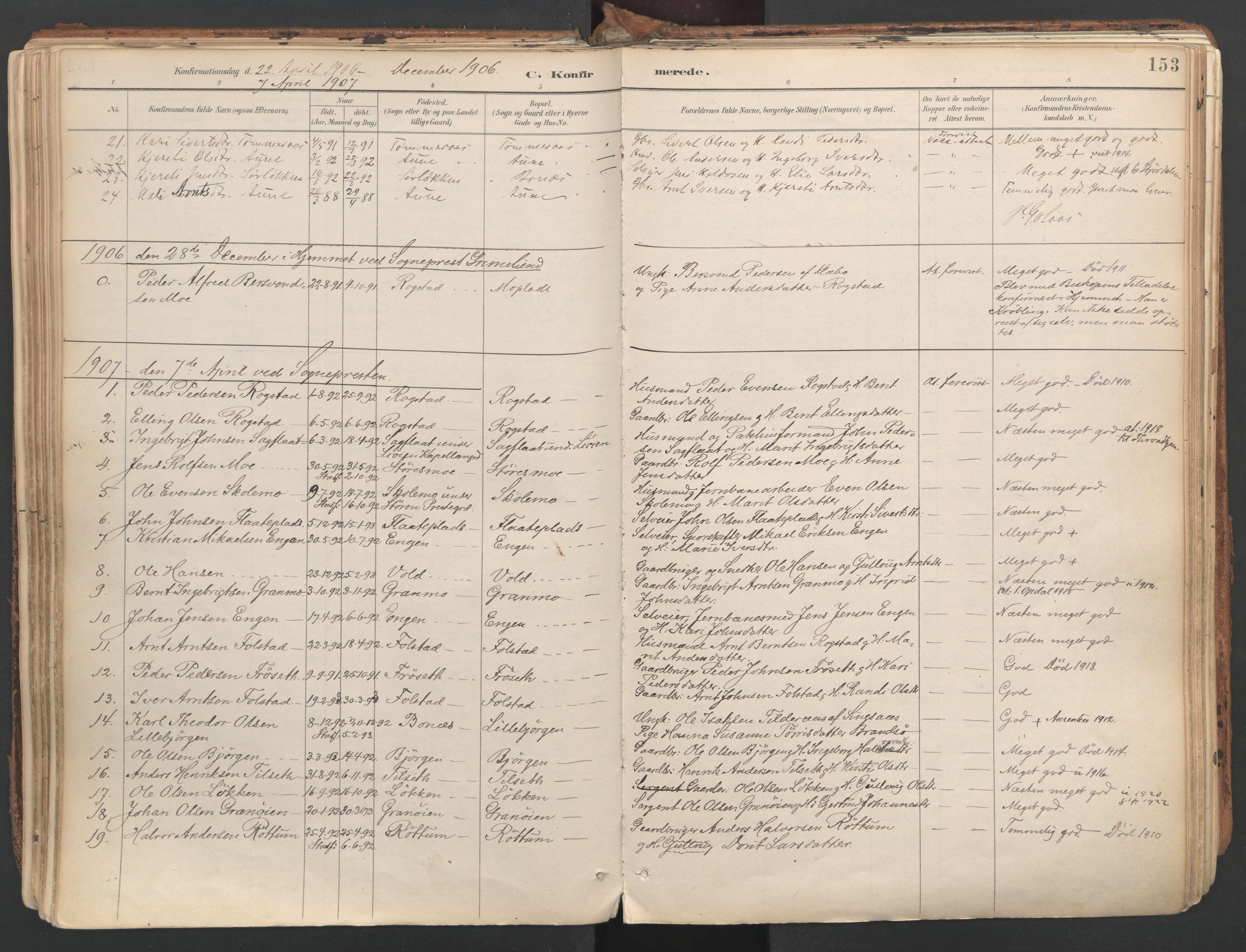 SAT, Ministerialprotokoller, klokkerbøker og fødselsregistre - Sør-Trøndelag, 687/L1004: Ministerialbok nr. 687A10, 1891-1923, s. 153